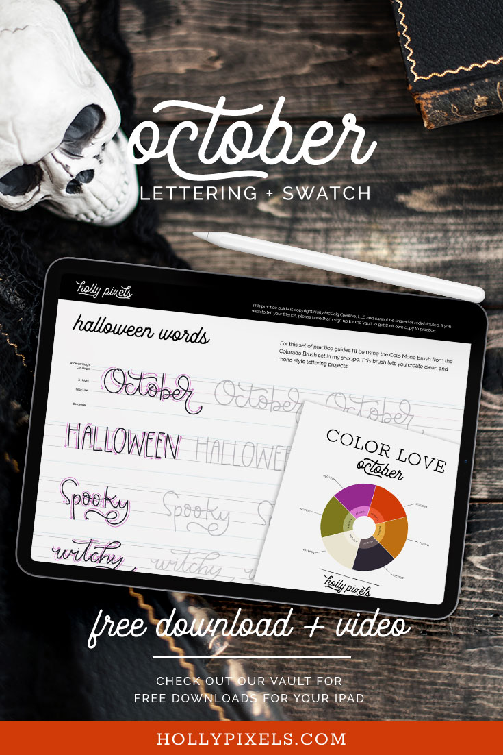 Download my free procreate lettering practice sheets each month. This month we are doing a fun Halloween theme using mono weight lettering and my Colo Mono brush.
