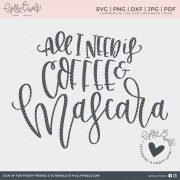 All I need is coffee and mascara. This coffee cut file design for coffee lovers is so true for most of my friends. It gets us going. This SVG file sayings design would be a cute addition to your sarcastic coffee mug or a t-shirt on a casual day. Use this super cute design to craft fun projects, apparel, and gifts for your friends and family.