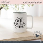 Hey, coffee lovers! I run on coffee, sarcasm, and lipstick! This super cute coffee Cricut SVG Downloads design is pretty funny. This SVG file sayings design would be a cute addition to your sarcastic coffee mug or a t-shirt on a casual day. Use this super cute design to craft fun projects, apparel, and gifts for your friends and family. By Holly Pixels.