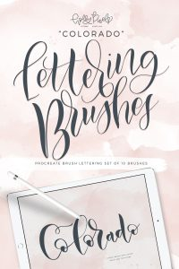 The Colorado brush pack for Procreate is the first in my collections of brushes that I've made to make beautiful lettering projects using the iPad Pro. I have included 10 different Procreate Brushes in this pack so you, too can install them in your Procreate app on your iPad. Create gorgeous, realistic brush lettering with these custom brushes. Visit hollypixels.com.