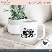 I run on coffee and cuss words! This funny coffee SVG cut file is brush lettered and a great way to show off your love of coffee, and maybe cussing? Visit hollypixels.com.