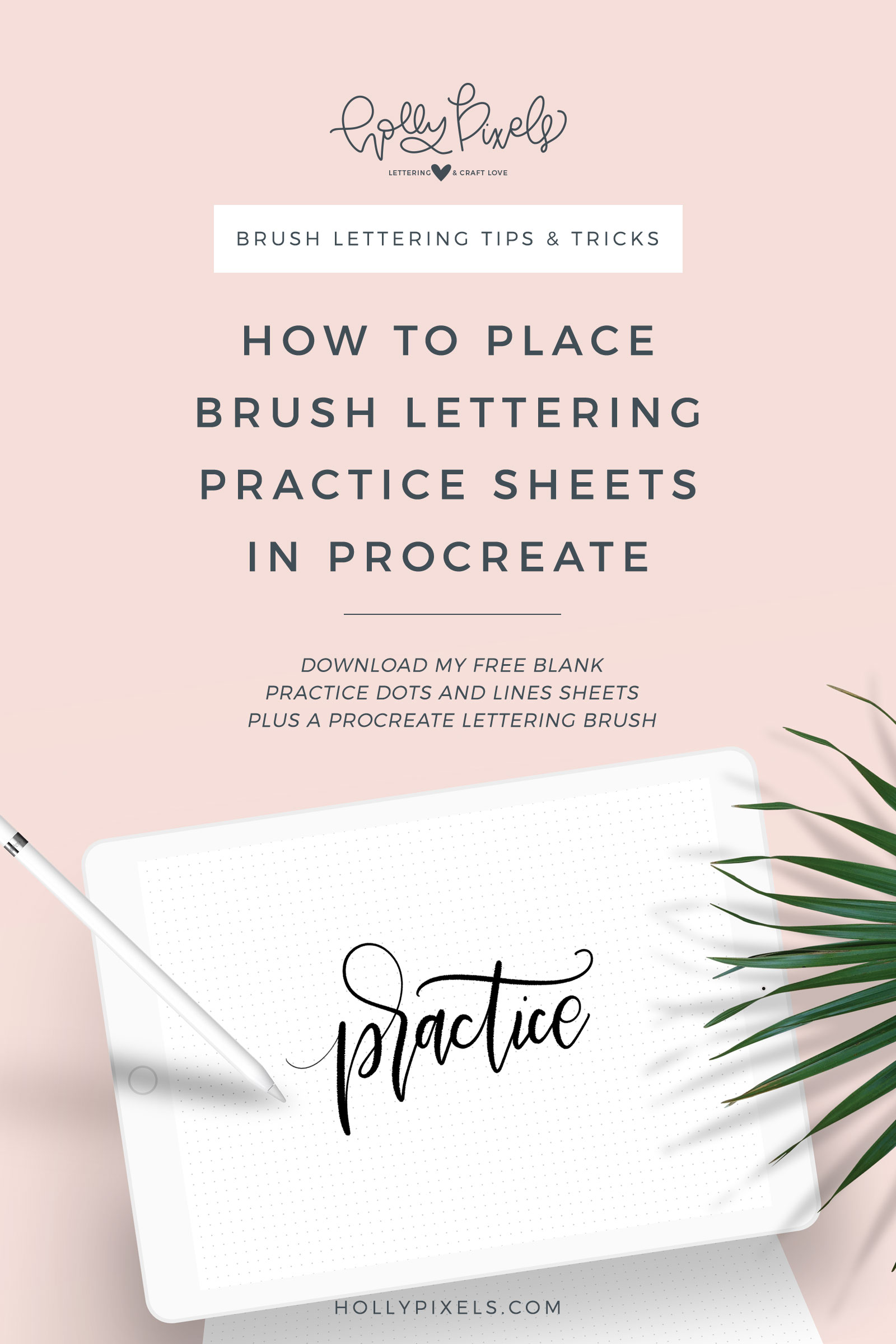 How to place brush lettering practice sheets in Procreate. Download my free brush lettering practice blanks and free Procreate brush. Visit hollypixels.com for free sheets and a Procreate brush.