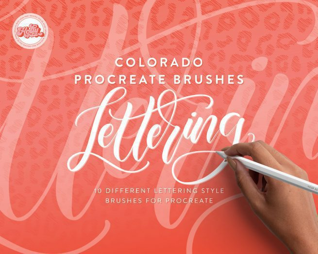 iPad Lettering with the Colorado Procreate brushes by Holly Pixels lets you letter with some of the most popular Procreate brushes on the market. They have been around for several years and are timeless, providing you with a versatile style of lettering from calligraphy to mono lettering. Your lettering projects are sure to look beautiful with the Colorado Procreate brushes.