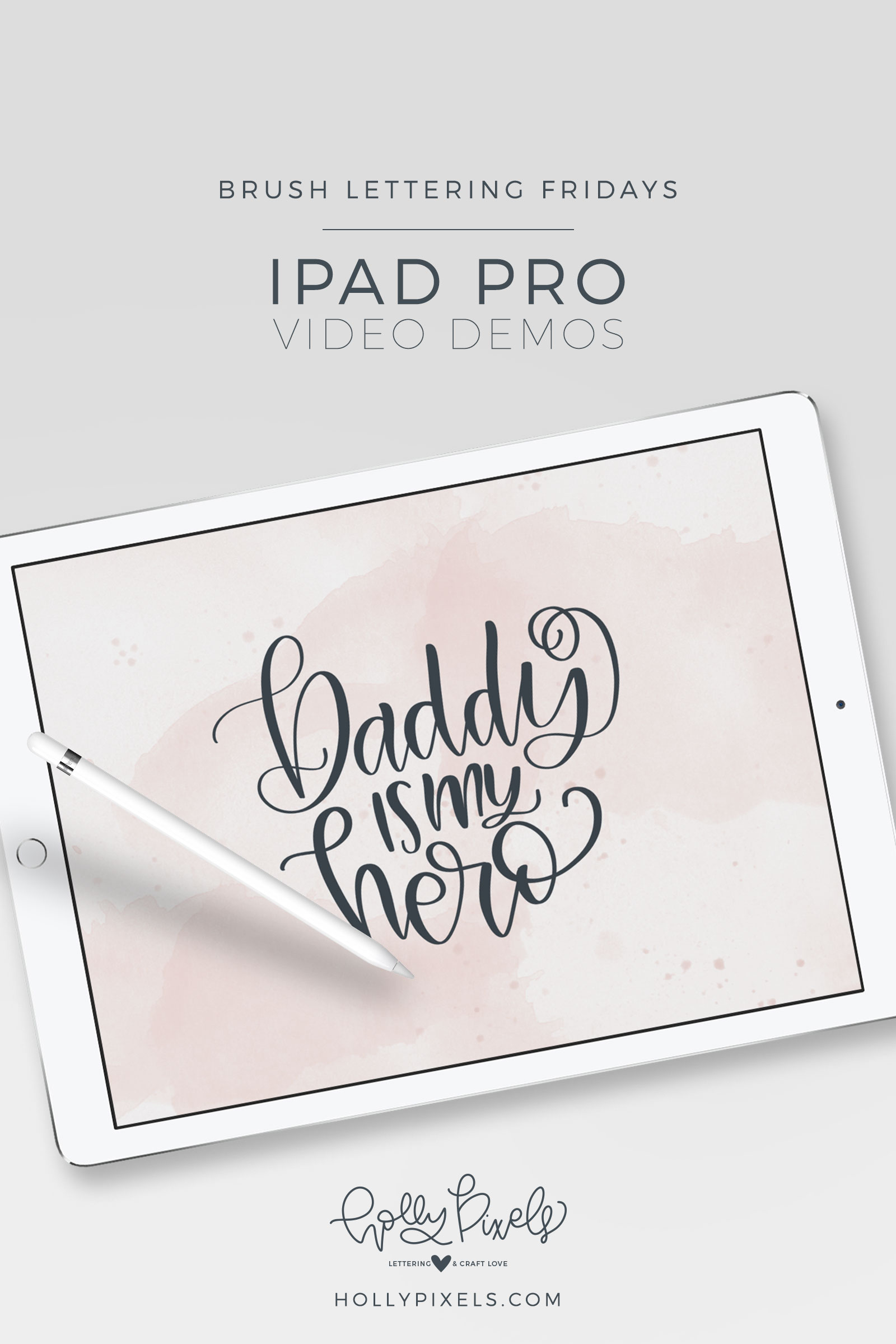 "It's time for another brush lettering on iPad Pro Friday! This month I'm sharing my SVG Friday Freebies lettering so here is ""Daddy is My Hero"" just in time for Father's Day. Watch my brush lettering video below and subscribe to my YouTube channel!"