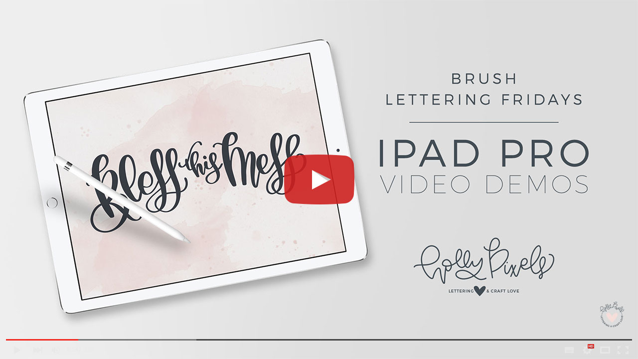 It's time for another brush lettering on iPad Pro Friday! Bless this Mess is always a popular request so I am happy to make it part of my freebies and this week's Brush Lettering Friday. Watch my brush lettering video below and subscribe to my YouTube channel!