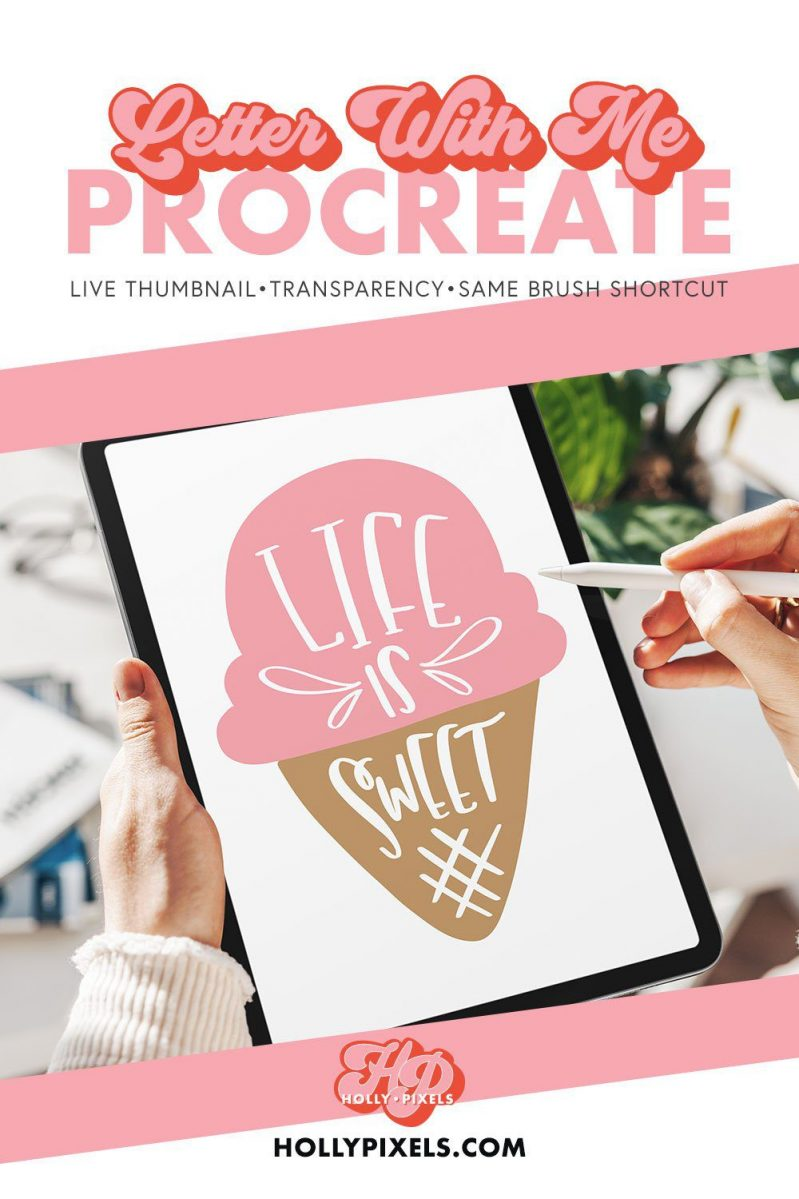 Come letter with me in Procreate as I letter and draw this Life is Sweet ice cream cone on my iPad. This easy demo will help you learn a few things as Procreate beginners.