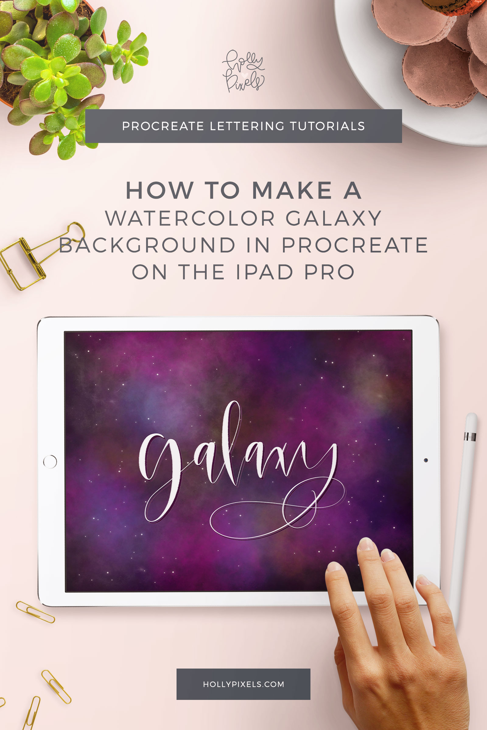 I'm obsessed with Galaxy backgrounds and art. A while back, I did a watercolor print of a galaxy in a jar, so I wanted to recreate the background idea using Procreate. Let's learn how to make a galaxy watercolor background with Procreate for brush lettering in this week's tutorial.