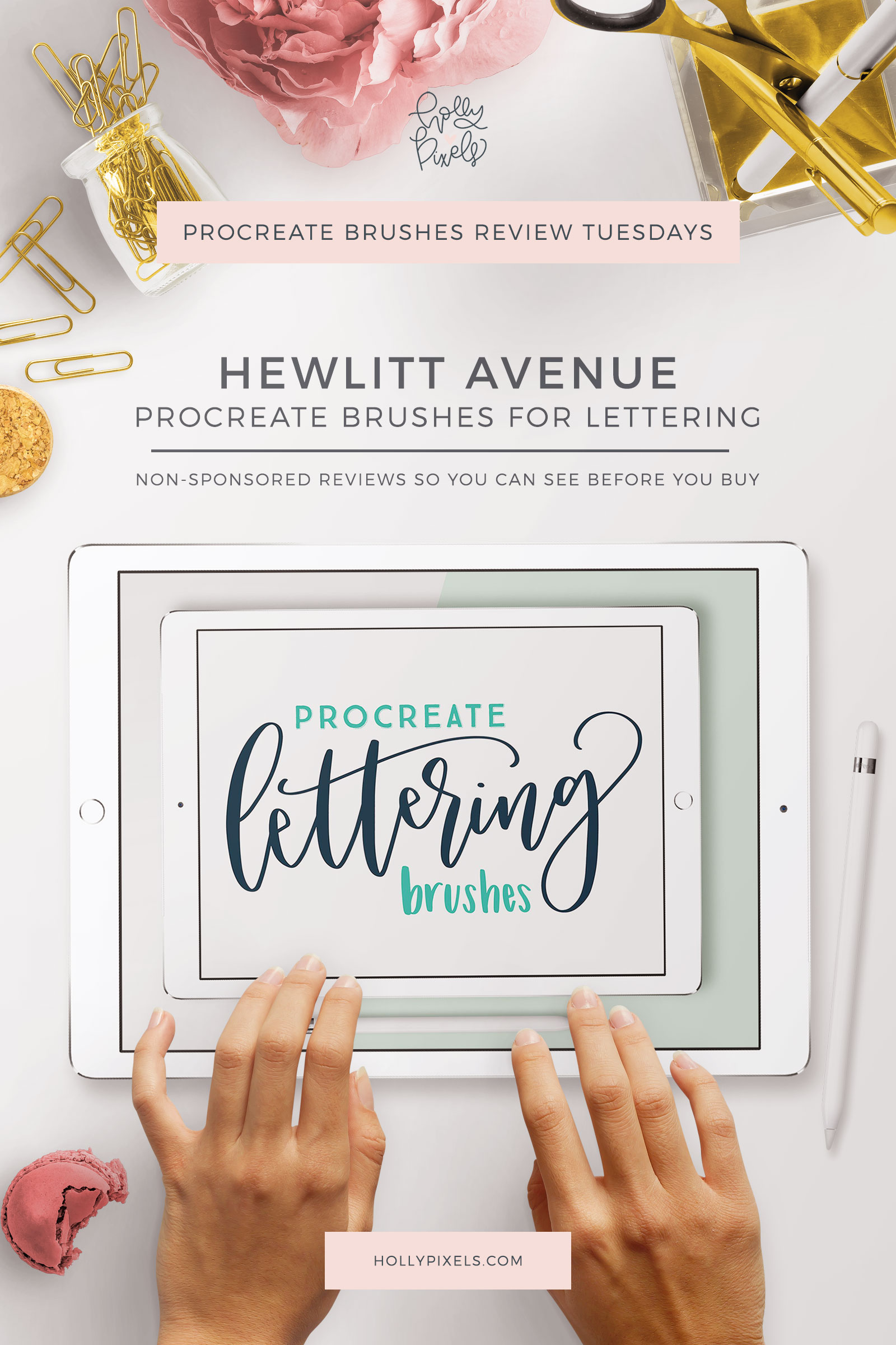 This week's Procreate brushes review features Lettering Brushes by Hewlitt Avenue that can be purchased at Creative Market.