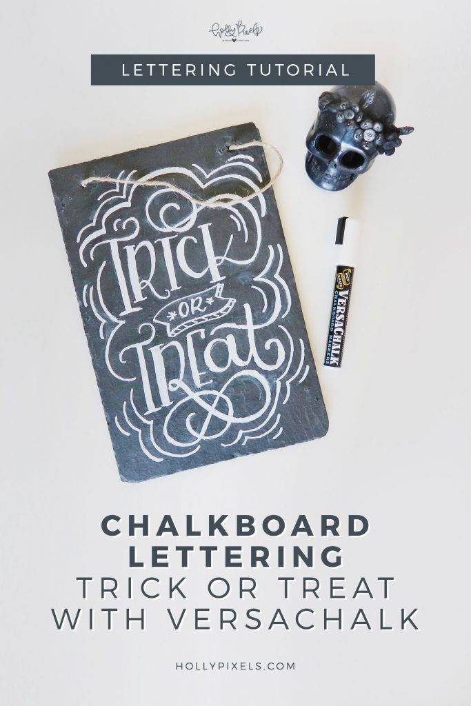 If you've wanted to learn chalkboard lettering this post is for you! I'll show you how to create chalkboard lettering with this Halloween Trick or Treat quote. Visit hollypixels.com for more lettering tutorials and fun.