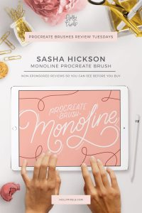 This week's Procreate brushes review features Monoline Brush by Sasha Hickson that can be purchased at Creative Market.