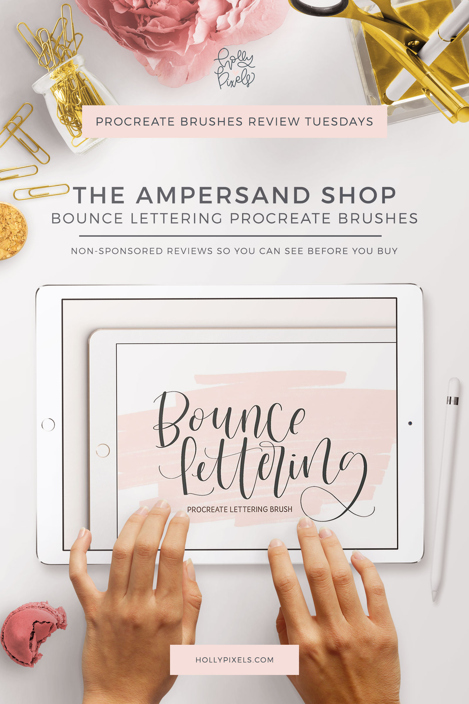 This week's Procreate brushes review features Bounce Lettering by Ampersand Shop that can be purchased at Creative Market.