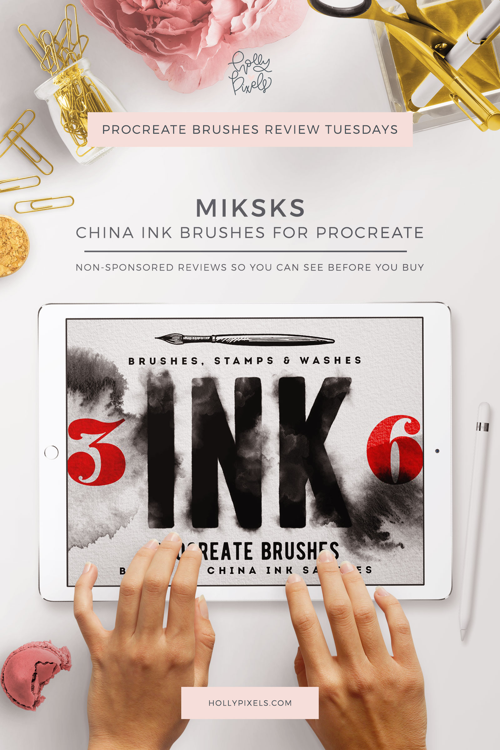 This week's Procreate brushes review features China Ink Washes by MiksKS that can be purchased at Creative Market.