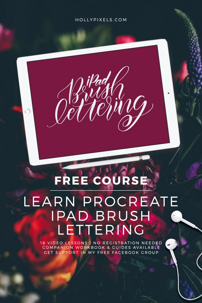 I'm so excited to be announcing my brand new, FREE iPad BrusH Lettering course. I will be teaching you the basics to the more advanced levels of flourishing and bounce lettering in this free course. Visit hollypixels.com #lettering #ipadlettering #brushlettering #procreatelettering #handlettering