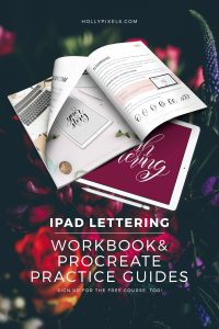 If you have been watching my FREE iPad Brush Lettering course it's time to take things up a notch. Brush Lettering on the iPad Pro doesn't have to be difficult. I've created this gorgeous PDF workbook with all the information you need and a lot of helpful practice guides. You can import the practice guides into Procreate and start lettering over my lettering style and improve your skill much quicker. You don't need the workbook or guides for the course, but they sure do help!