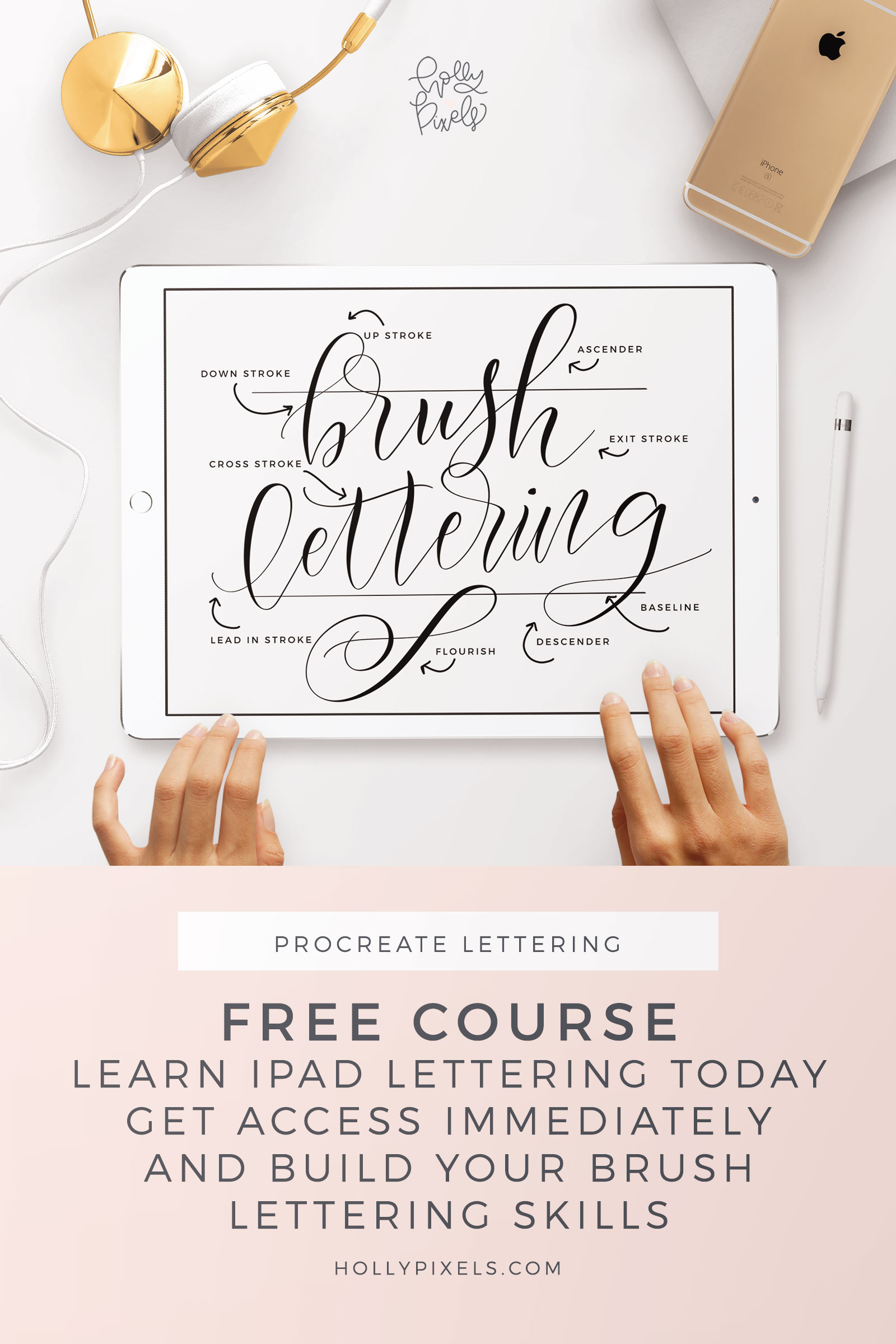 I'm so excited to be announcing my brand new, FREE iPad Brush Lettering course. I will be teaching you the basics to the more advanced levels of flourishing and bounce lettering in this free course. You got an iPad Pro and Apple Pencil for Christmas but you can't get your lettering to look like those super popular Instagram posts.