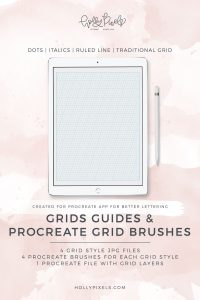 Make lettering in Procreate on your iPad Pro much easier with grids. The Holly Pixels Procreate Grids includes four different types of grid/ruled paper styles so you can work with the one that best suits your lettering needs. Plus you're getting each of the styles in Procreate brush files to easily stamp on a new layer when you're in a hurry to letter something gorgeous.