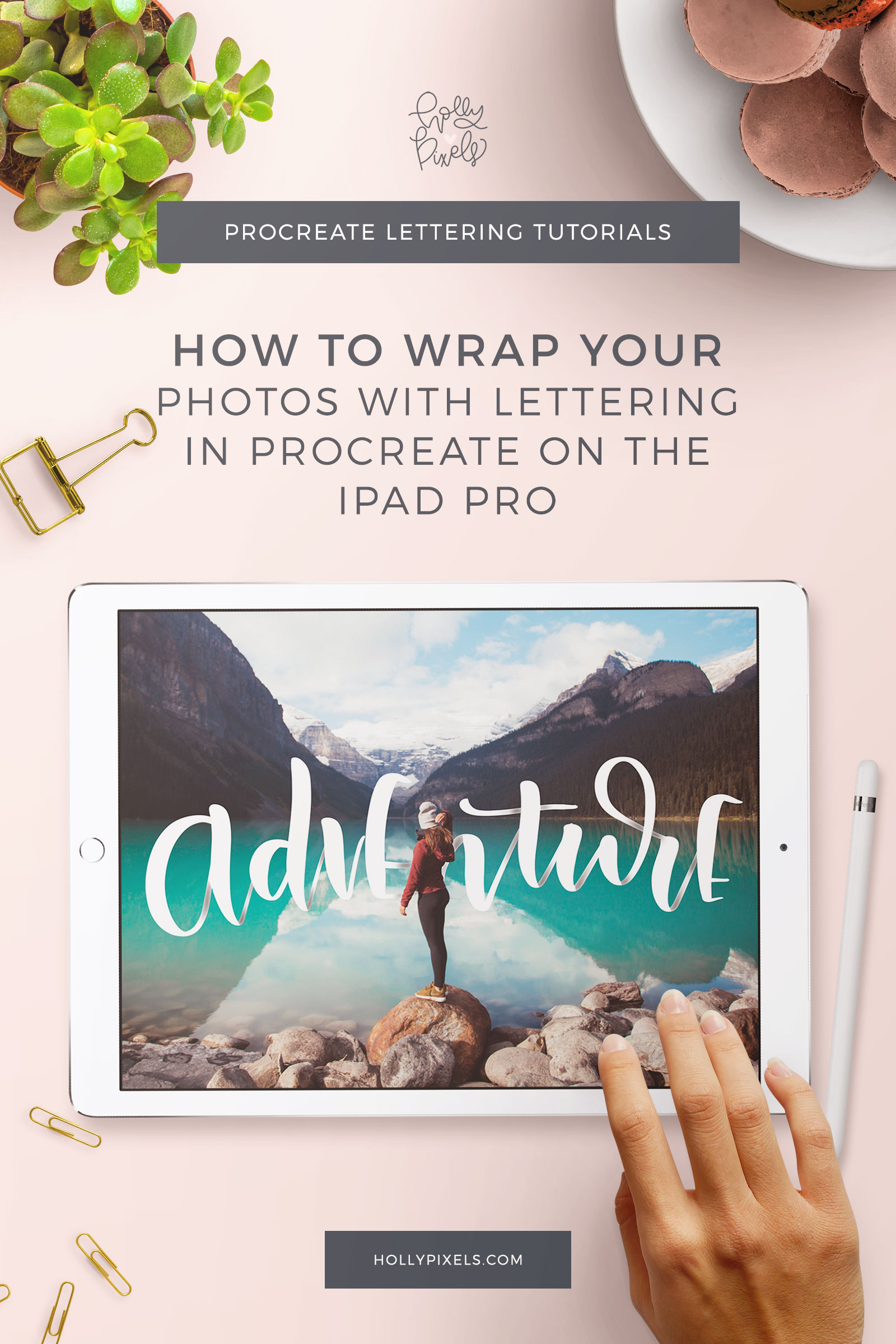 This technique is great for commercial work! Want to learn how to wrap photos with letters? This iPad Pro lettering tutorial with Procreate App is easy to follow. Find the right photos and make magic!