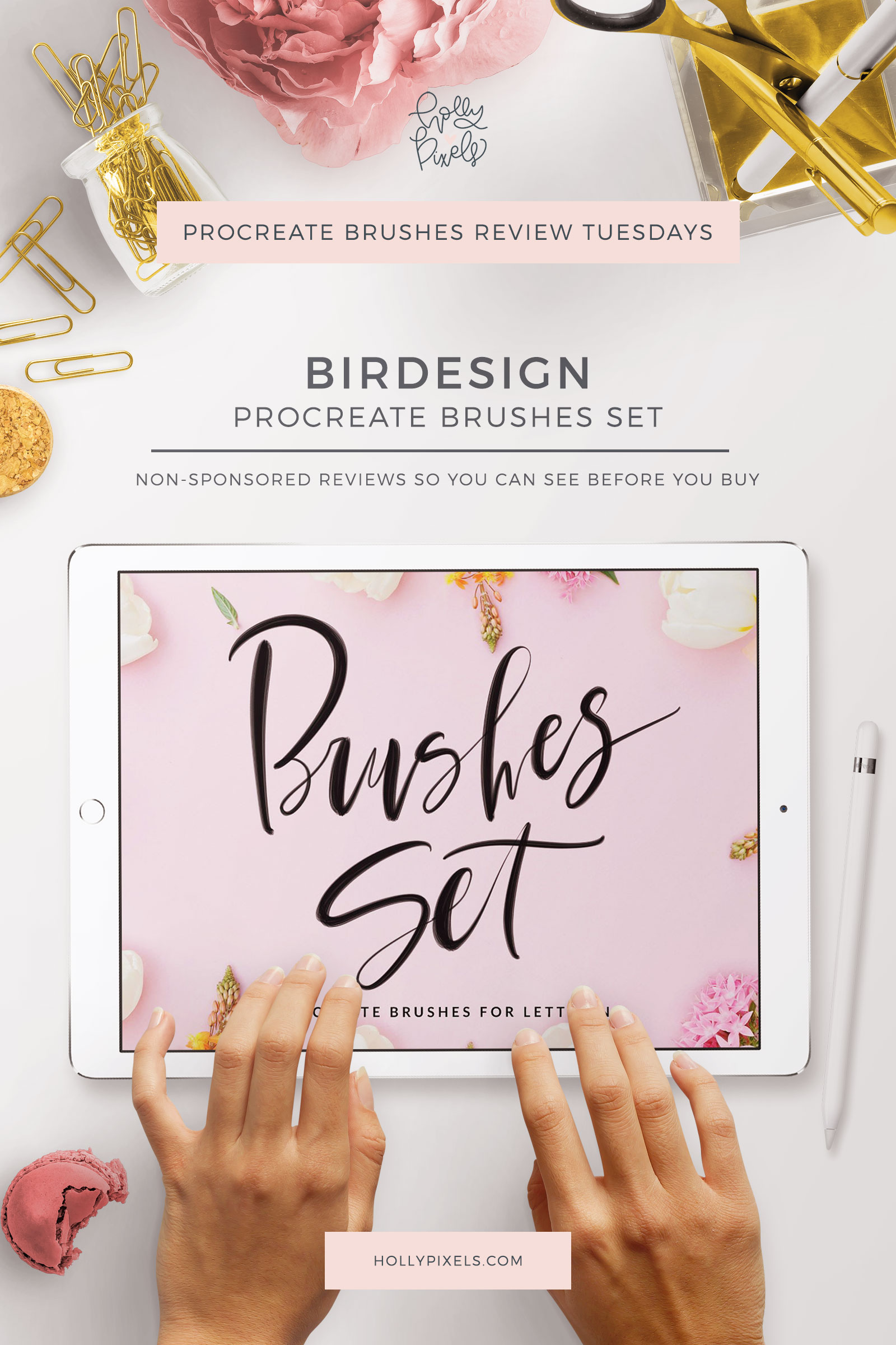 This week's Procreate brushes review features a more traditional lettering set of Procreate Brushes by Birdesign that be purchased at Creative Market.