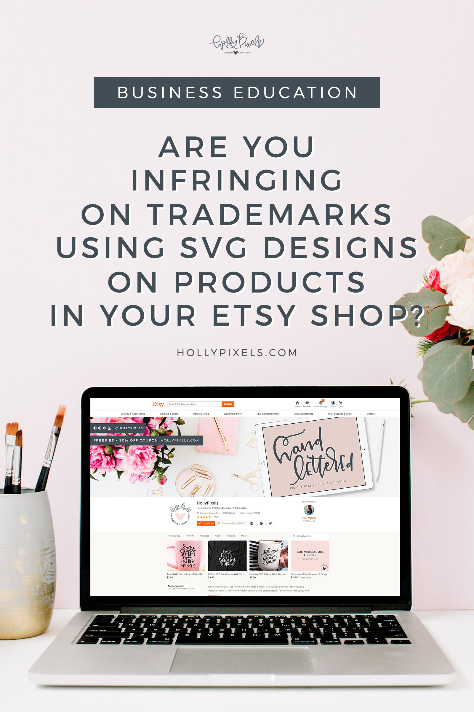 Are you infringing on trademarks with SVG designs you purchase on Etsy or elsewhere by selling products in your Etsy shop? You may be in legal trouble. Learn what you should be doing and how I am helping make things legal in my shop so you can sell fun products with my designs. #legal #svgfiles #svg #trademarks #sellingonetsy #etsyseller #etsyshop #copyright