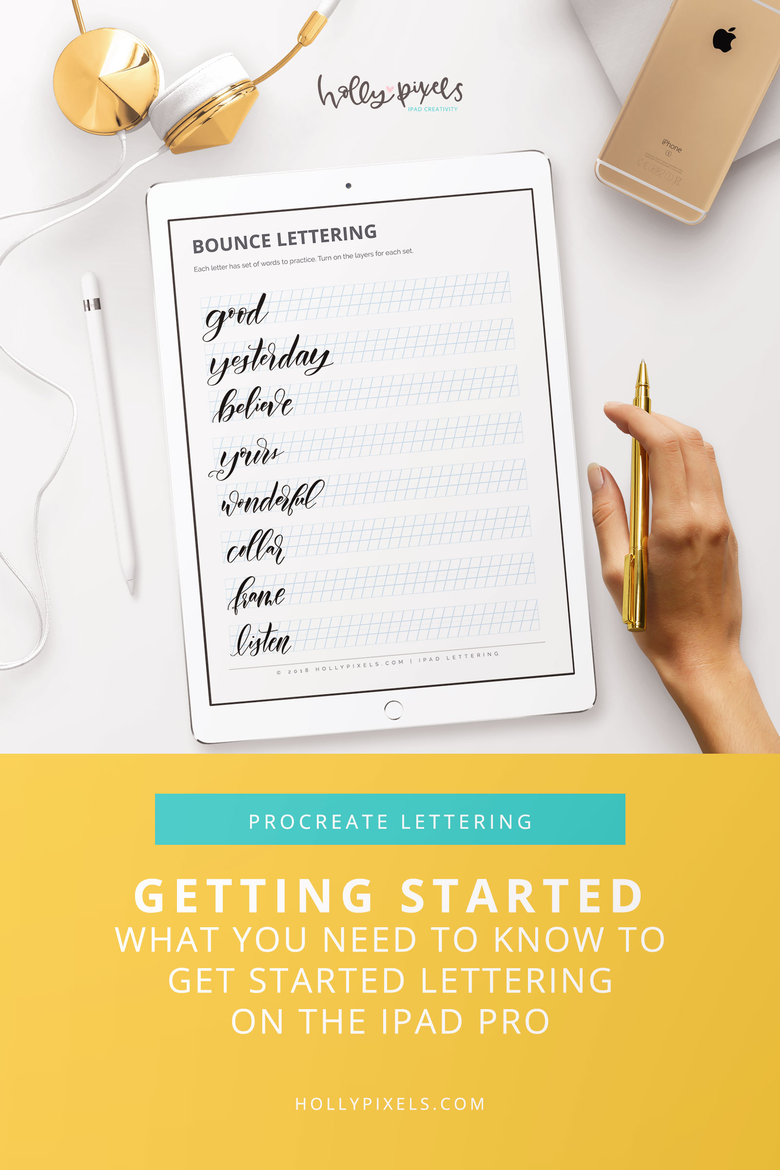 If you're ready to get started with lettering on the iPad Pro this post will achieve your goal. Lettering is something that takes time, practice and lots of consistency no matter what medium you use. Whether you choose to letter with pens and paper or the iPad Pro, there are certain tools you need to master lettering.