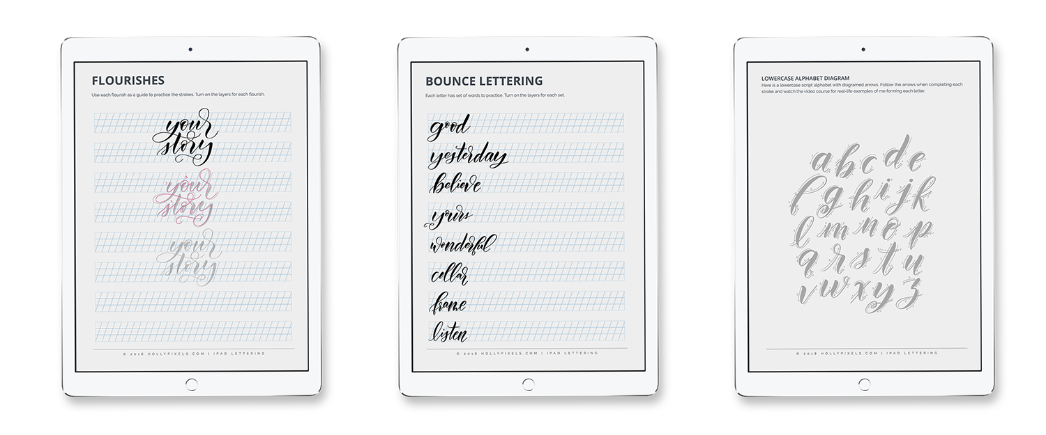 The iPad Lettering Companion Guide and Procreate Practice Guides from Holly Pixels will help you in your lettering learning process.