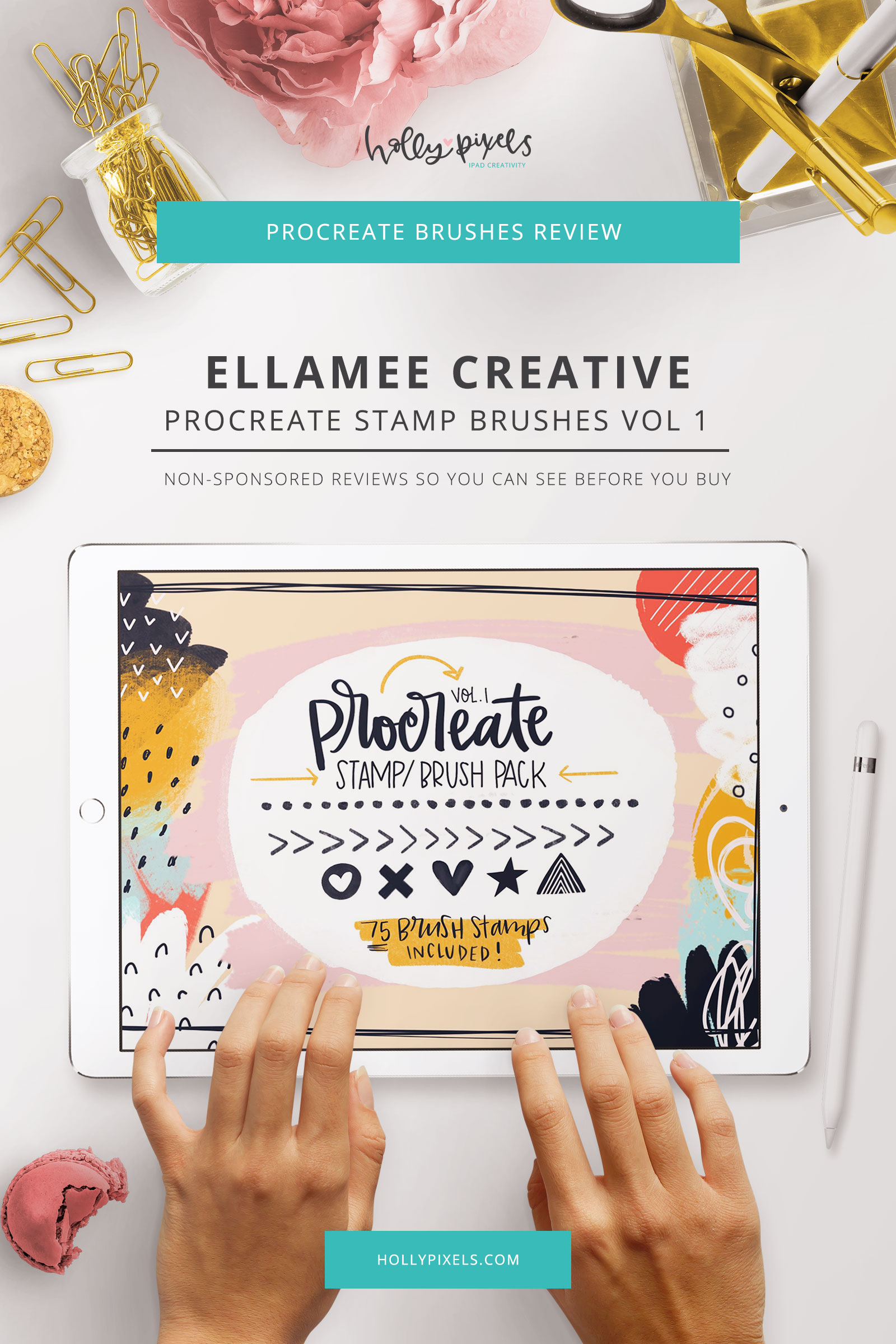 With this week's Procreate Brush Review I'm going to show you this set of quirky hand drawn style brush stamp for Procreate. This set is by West Ellamee and can be purchased on Creative Market.