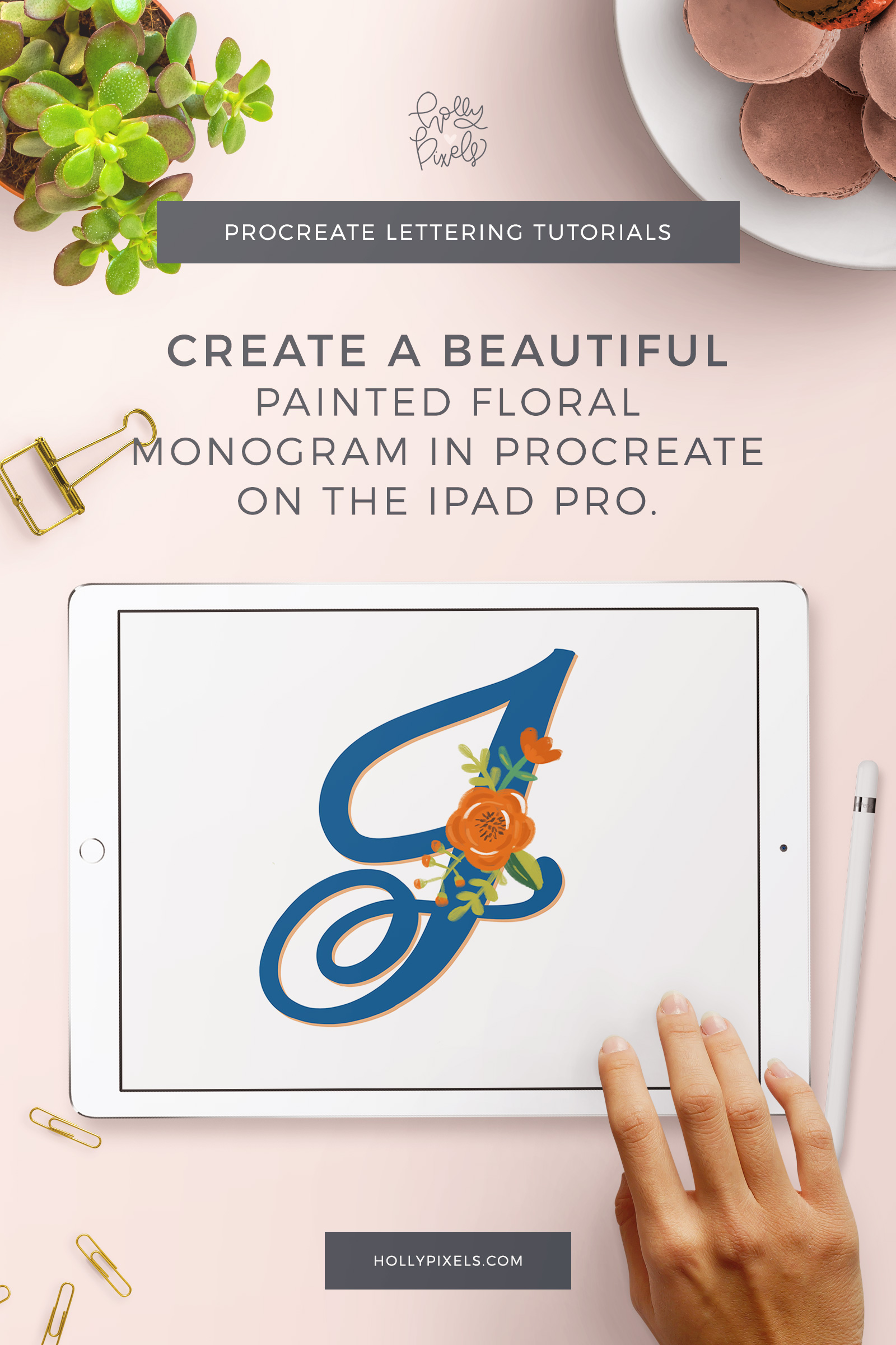 This week I'm going to show you how to create painted floral monograms in Procreate. Anyone can learn brush lettering. But that can be real boring real fast. To stand out in the crowd of lettering artists you should be learning new skills and techniques. This technique is super easy, creative, and fun.