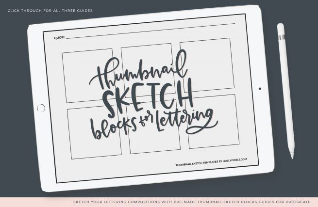 The key to building great lettering compositions is using the thumbnail sketch process. Rough sketches to build compositions help you visualize your ideas so you can move forward with lettering the perfect layout. #hollypixels