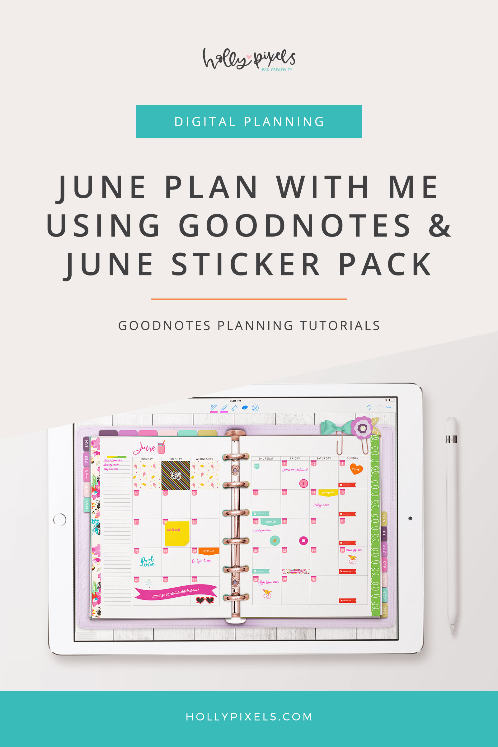 "This is the very first of my ""Plan with Me"" series of videos for GoodNotes. I've really enjoyed getting familiar with using this app and creating stickers and inserts for it. We are launching a series of planners on June 1st, so the planner I'm showing you in here will be available in the shoppe then. Stay tuned!"