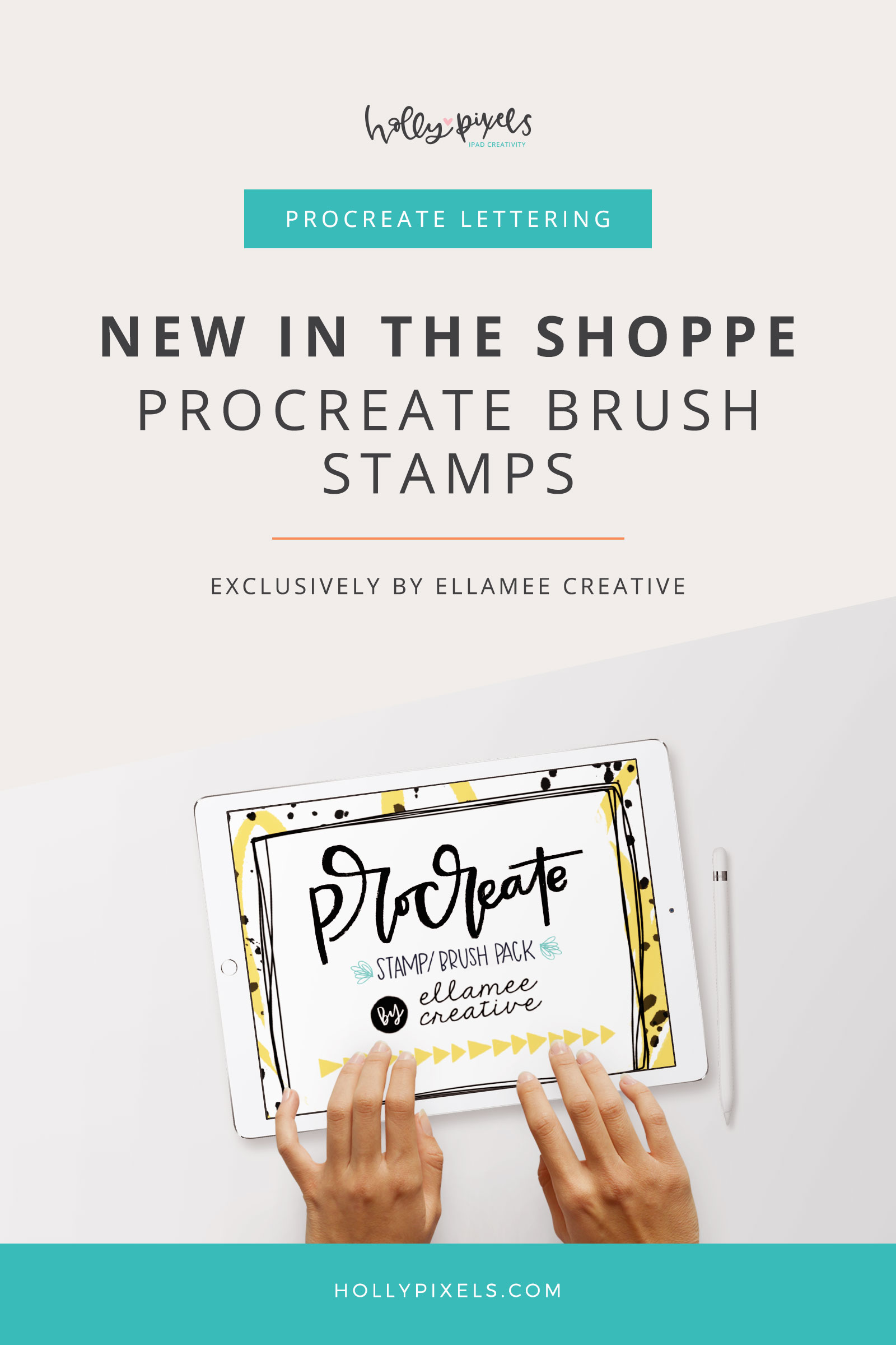 We are so thrilled to have Ellamee Creative making an exclusive set of Procreate Brush stamps for our shoppe! Her Brush Stamps are on my most favorite list of Procreate brushes and I've reviewed some of hers before. Now, she's made fans of Holly Pixels an exclusive set you can use to create super cute and fun Instagram posts.