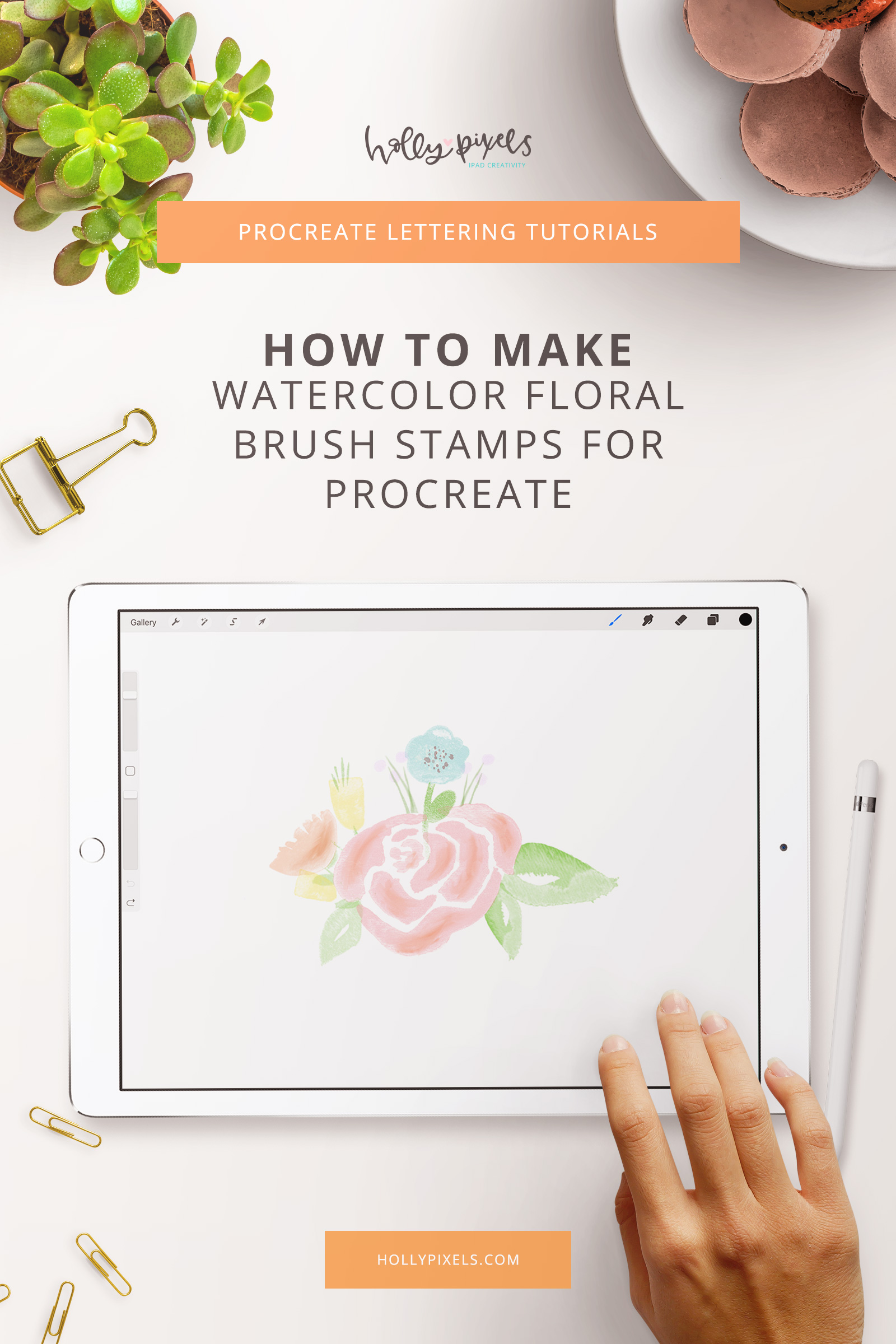 Learn how to create these gorgeous watercolor floral stamp brushes in Procreate. iPad Lettering is so fun and creative. Learn with hollypixels.com for new tutorials each week.