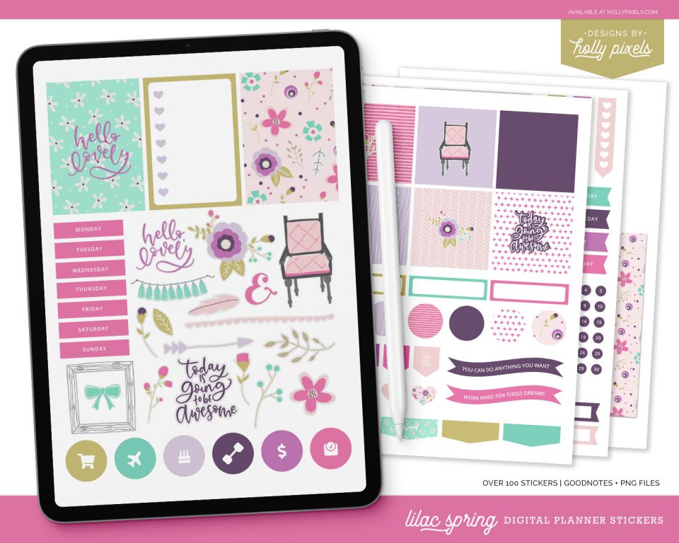 This pretty lilac spring digital planner sticker set is girly and fun to get you started with planning on your iPad. This is the set that came with our original Pixel Planner 1.0 from 2018 no longer for sale.