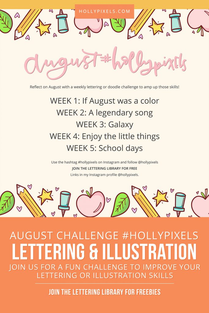 Every month I host a new lettering challenge and this month we're bringing in Illustration to the challenge as well! Each month I post new prompts to encourage you to get more consistent with your lettering and drawing. Challenge prompts can help you improve.