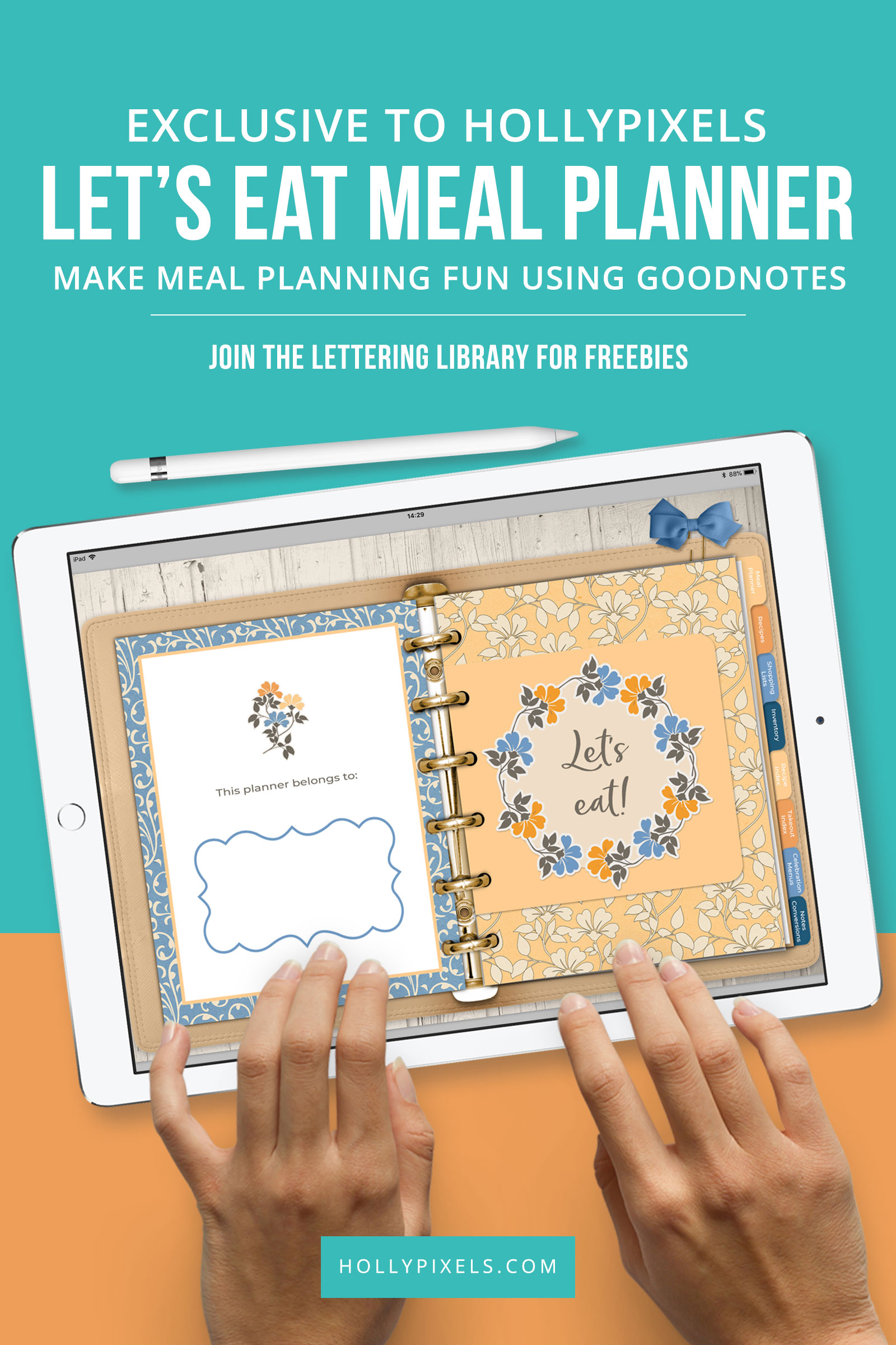 I am so excited that the Let's Eat Meal Planner for the GoodNotes App that Kate George and I have created is available for sale in the shop. It has lots of super useful page layouts and stickers to help you plan and organize your meals and favorite recipes.