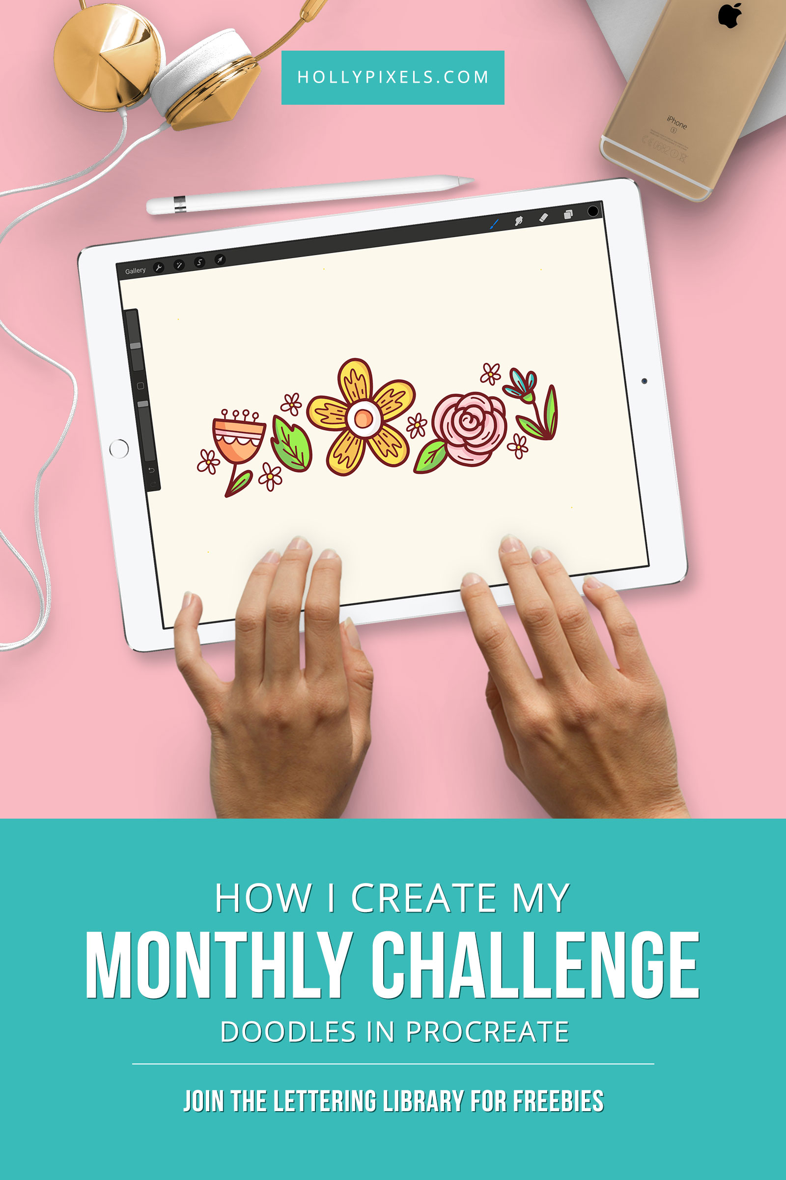 I thought I'd take you on the journey of drawing in Procreate and how I set up my monthly challenge doodles background for my #hollypixels Lettering & Drawing Challenge on Instagram - Follow me at @hollypixels on Instagram to join in!