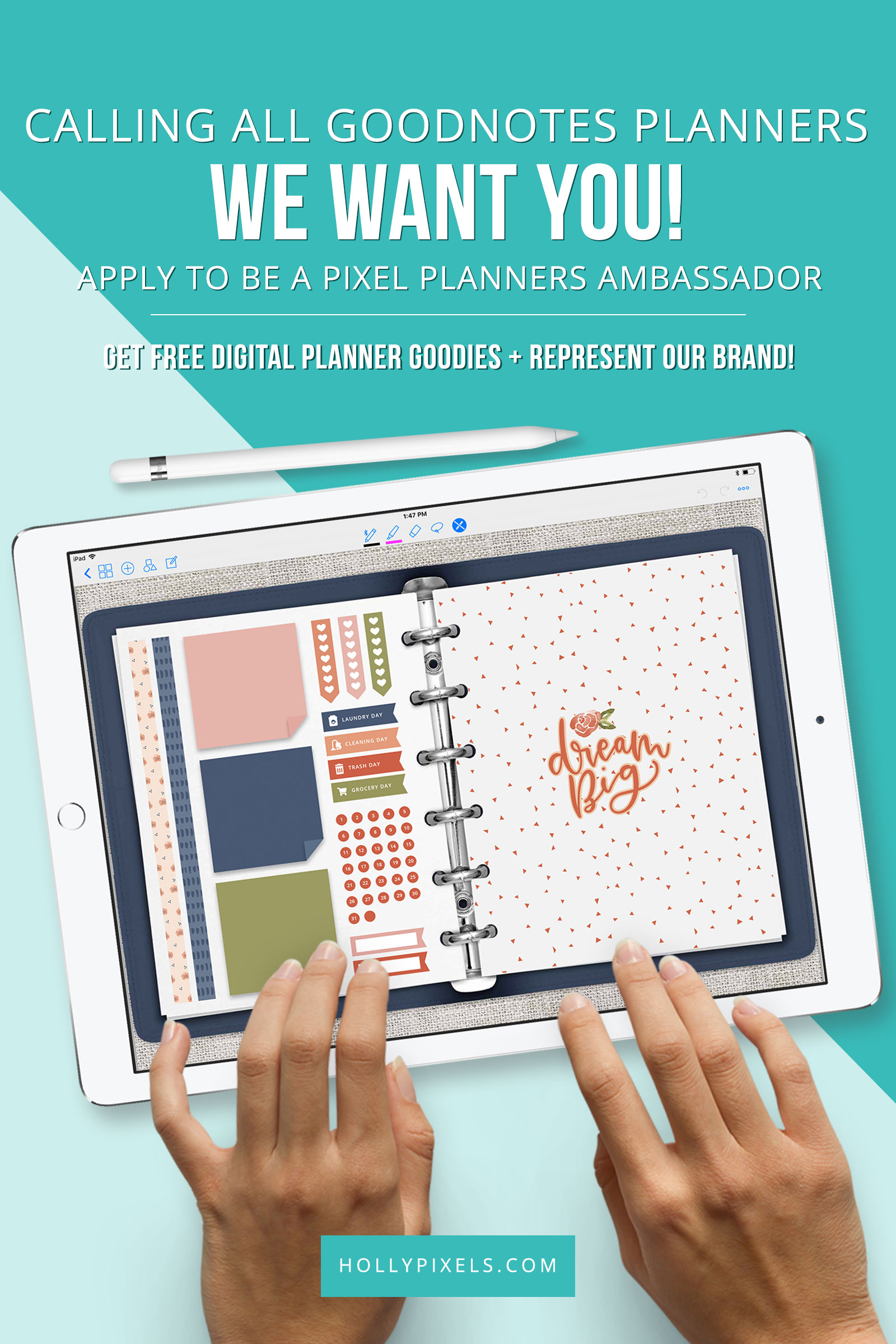 Holly Pixels is looking for creative digital planners obsessed with GoodNotes to join our creative planning team or better known as our new Pixel Planners Ambassadors!