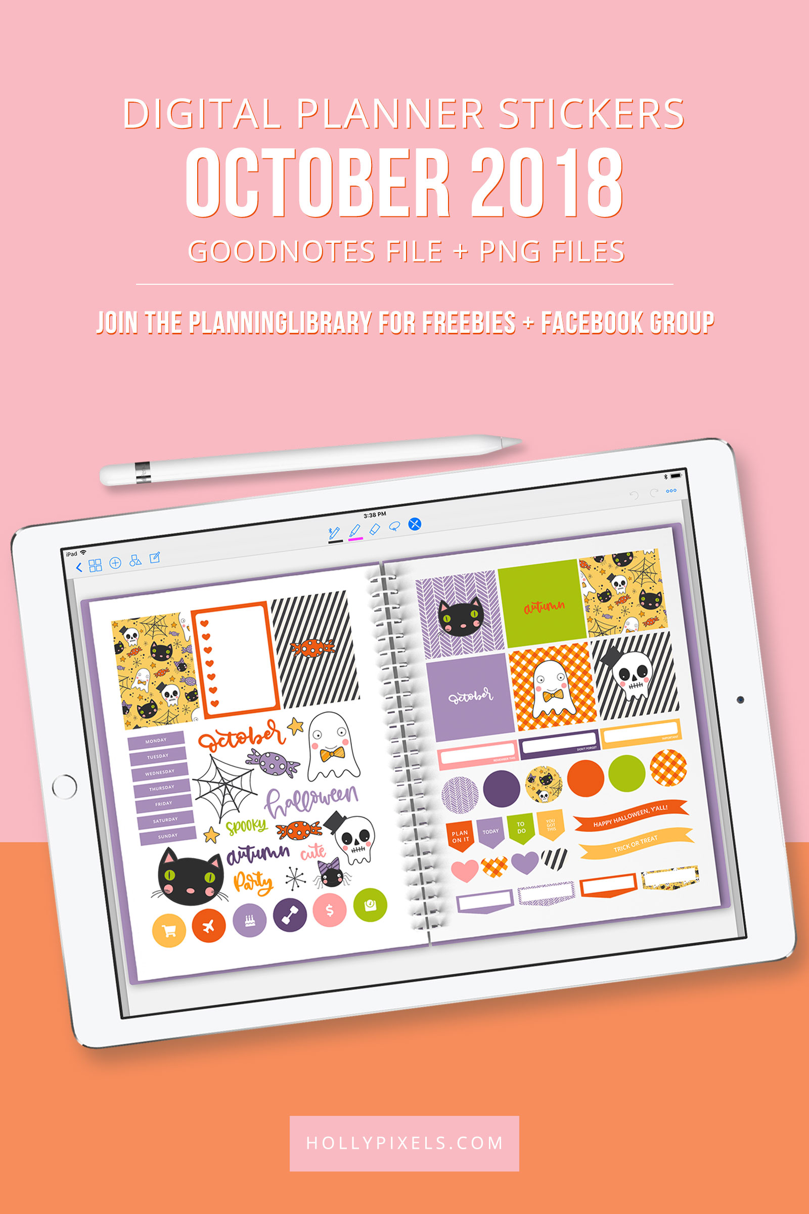 Today we're going to be showing you the October 2018 Plan with me Digital Stickers for digital planning. This time we are proud to say that we have not only included a GoodNotes file, but also the PNG files in a zip that you can use with other digital planning apps on your iPad.
