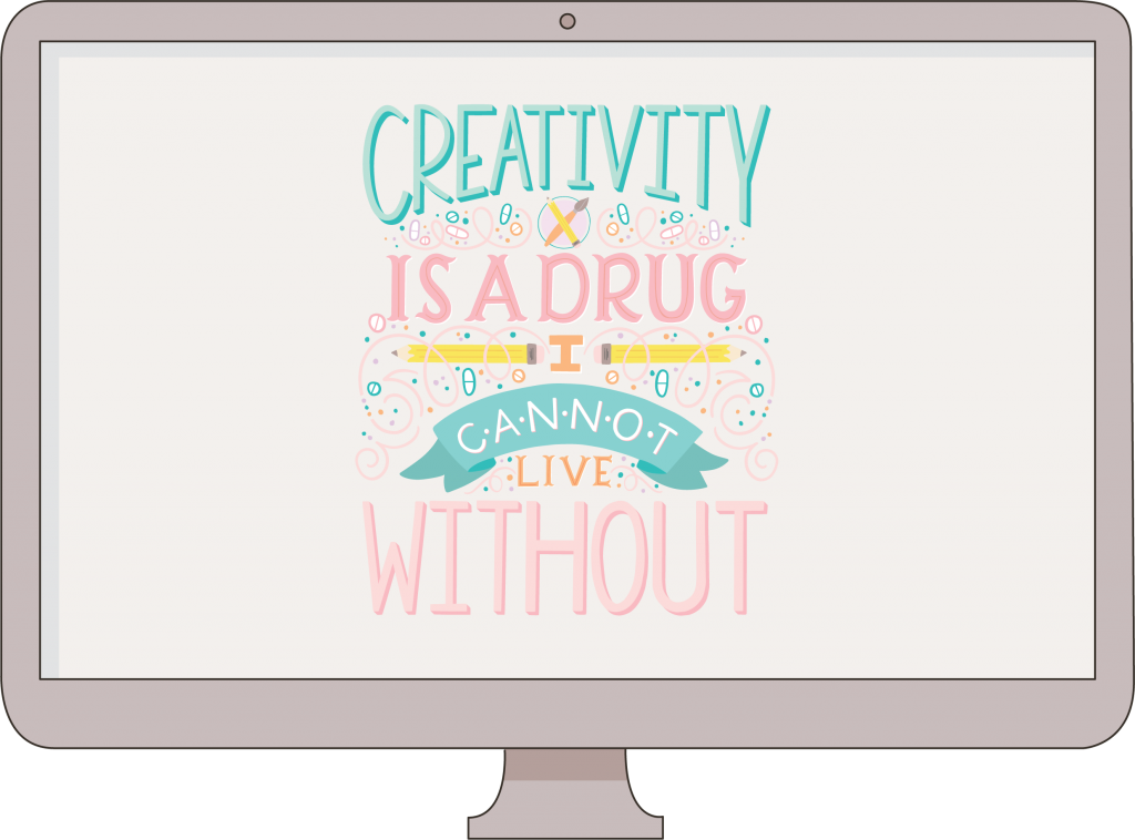 Hand lettering workshop by Holly Pixels: Creativity is a Drug. Procreate and Illustrator