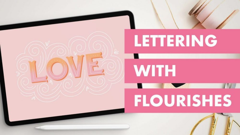 This Procreate tutorial is easy to follow and features lettering with Flourishes in a fun way. And, we'll be using Ian Barnard's Letter Builder Kit to make it simple.