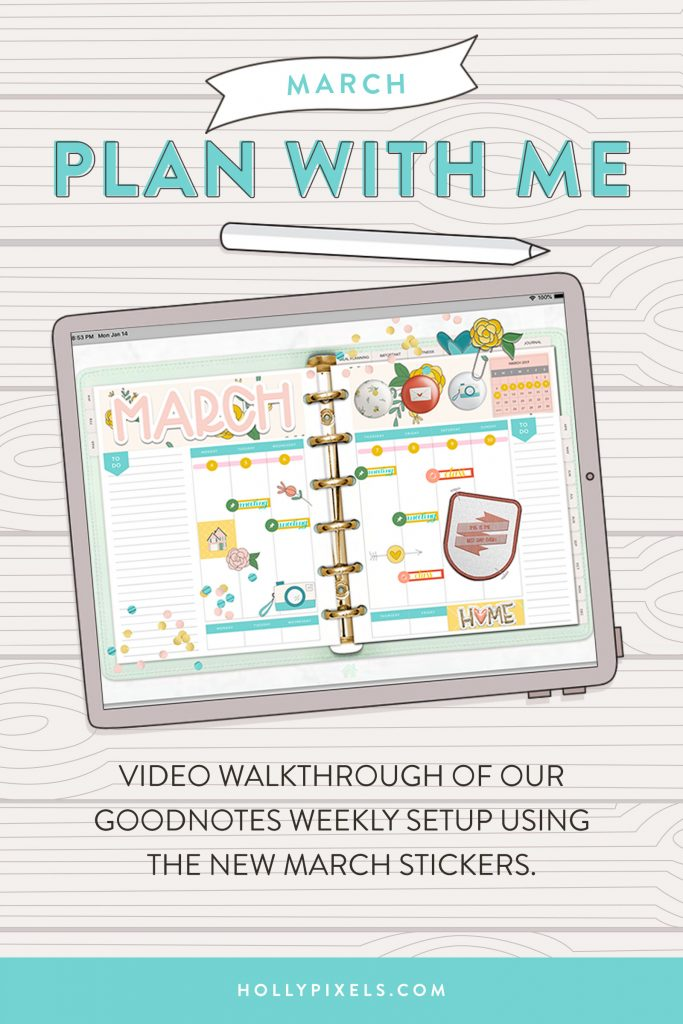 Plan with me this March 2019 as I set up the Monthly Spread of the Pixel Planner using our new March digital stickers for GoodNotes. This walk through will show you how I set it up, plus I'll show you inspiration from our Pixel Planner Ambassadors and how they use this set to create their GoodNotes planner layouts for the month of March.