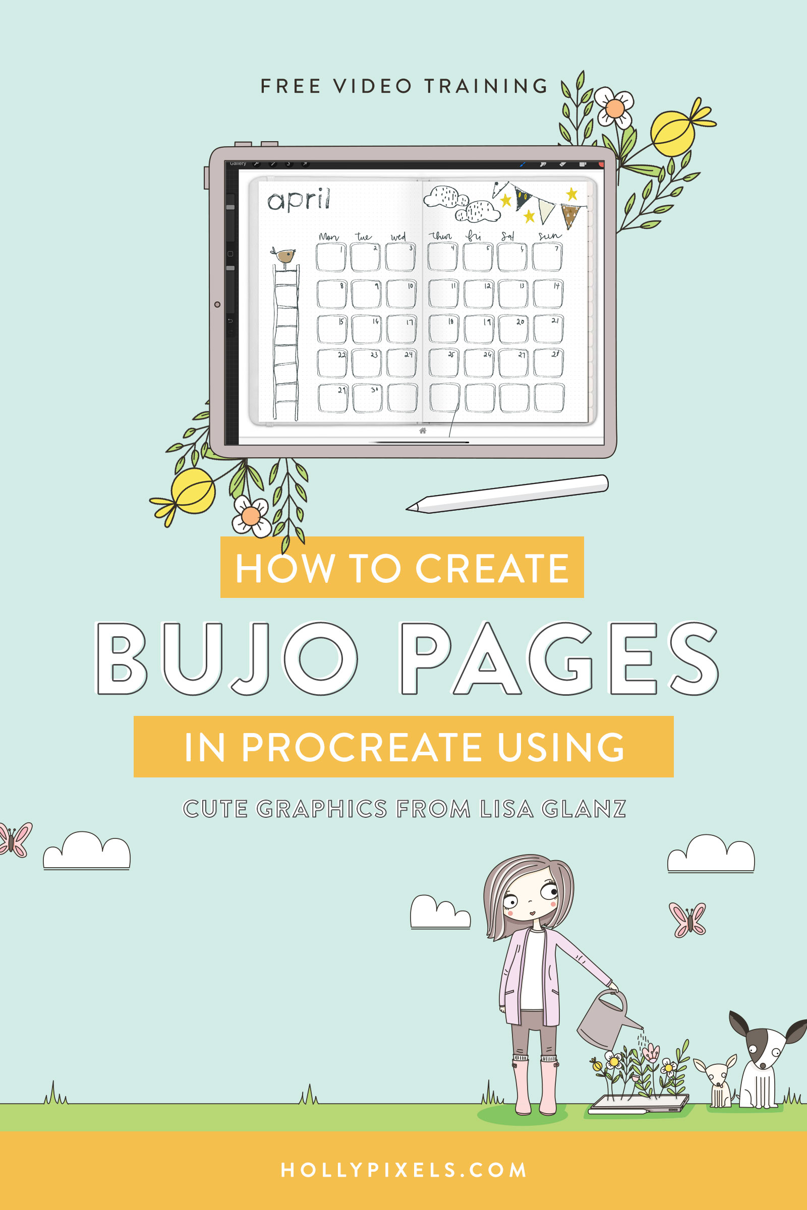 Learn how to create a bujo page in Procreate for your digital bullet journal! I'll be using graphics from Lisa Glanz and Design Cuts to set up a background page for my bullet journal in Goodnotes using Procreate.