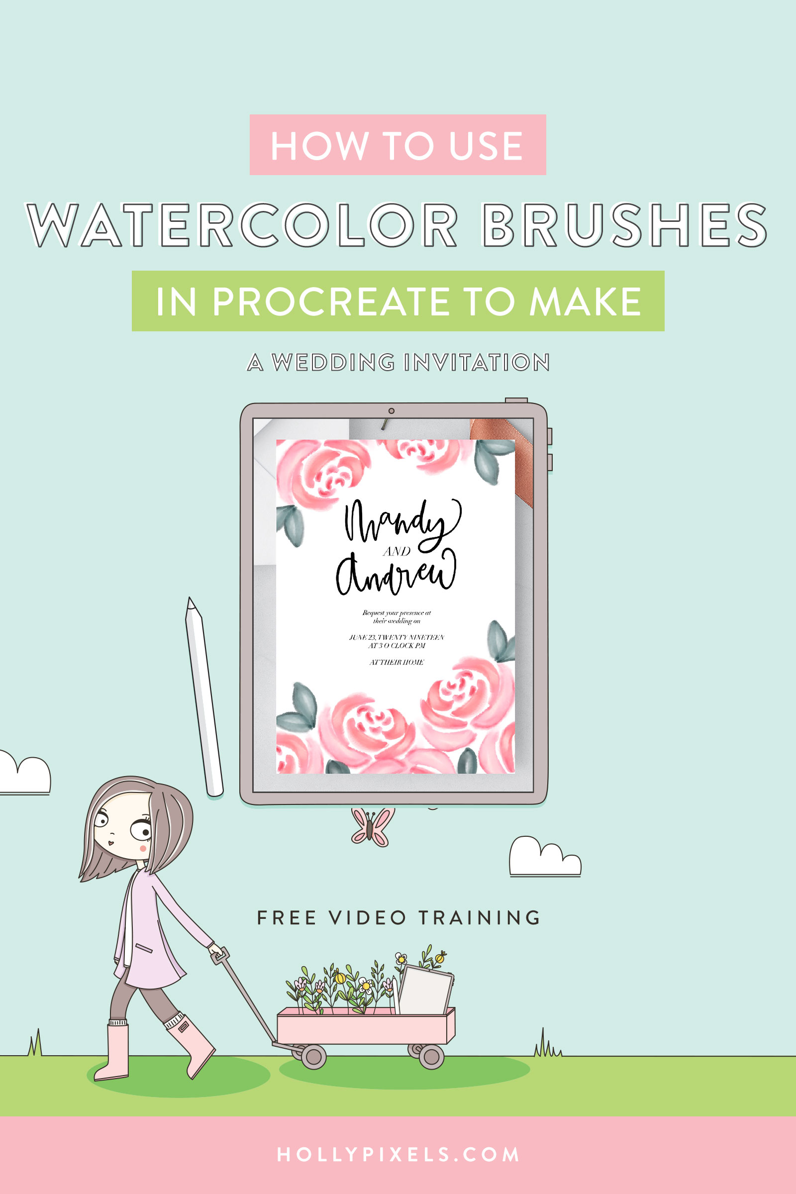 I'm not a watercolor artist by any means. I can paint some loose florals. But when I found this super fun HUGE set of Procreate brushes by PicbyKate I had to grab them and make something you could follow along with. Let's make a watercolor procreate brush wedding invitation together.