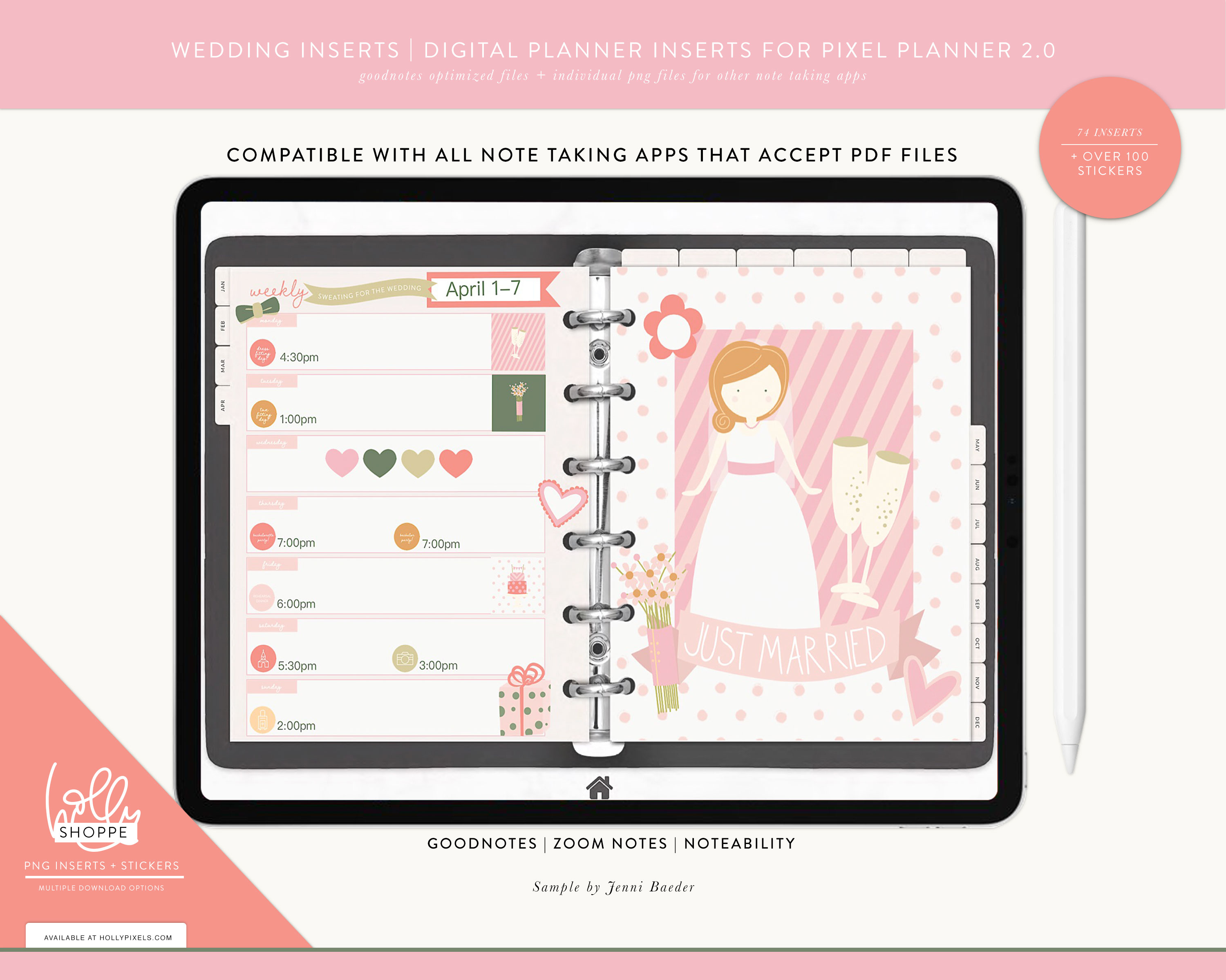 New Wedded Bliss Digital Planner Inserts and Stickers for GoodNotes 5