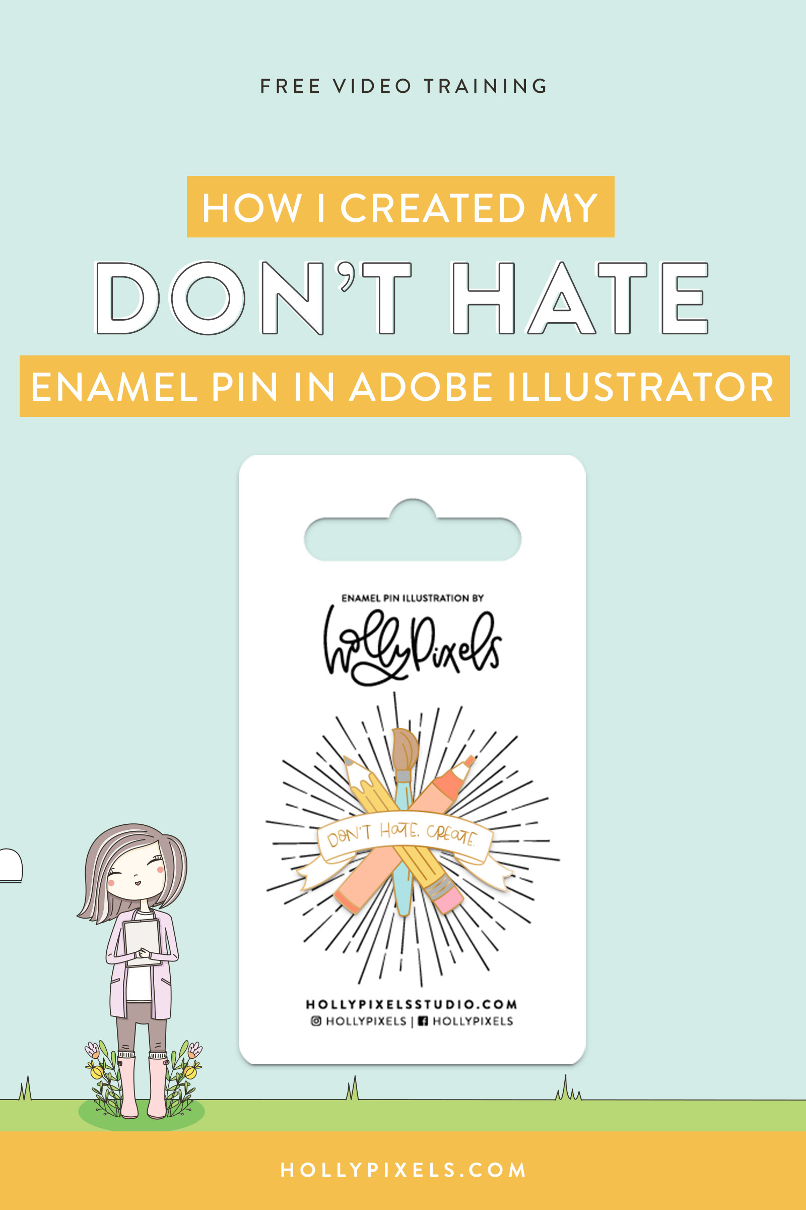 I had such a great response to those of you learning how to make enamel pins in my other video. I wanted to walk you through my process from sketch (done in Procreate) to Illustrator where I get a piece ready to send to my manufacturer.
