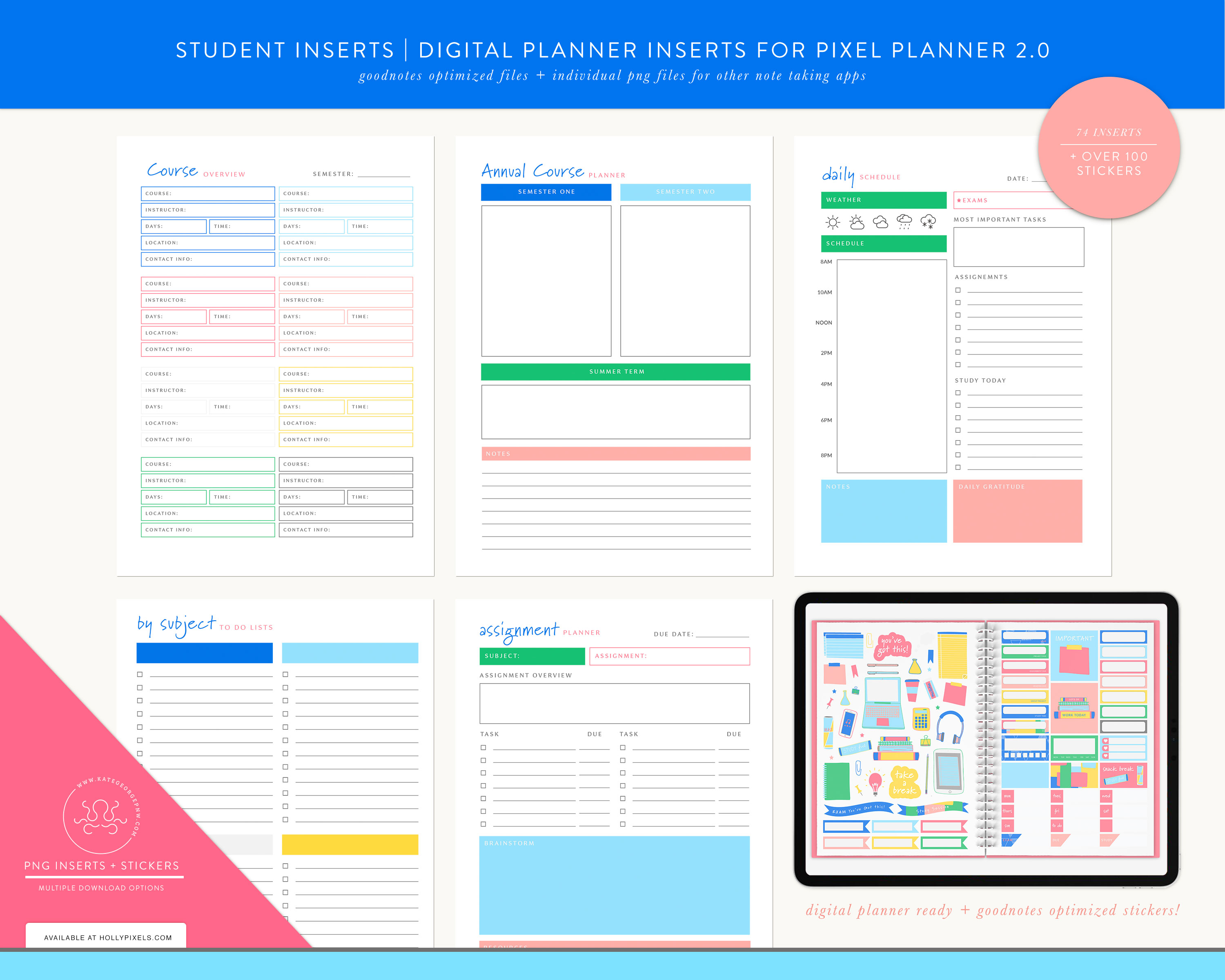 New Student Digital Planner Inserts and Stickers for GoodNotes 2
