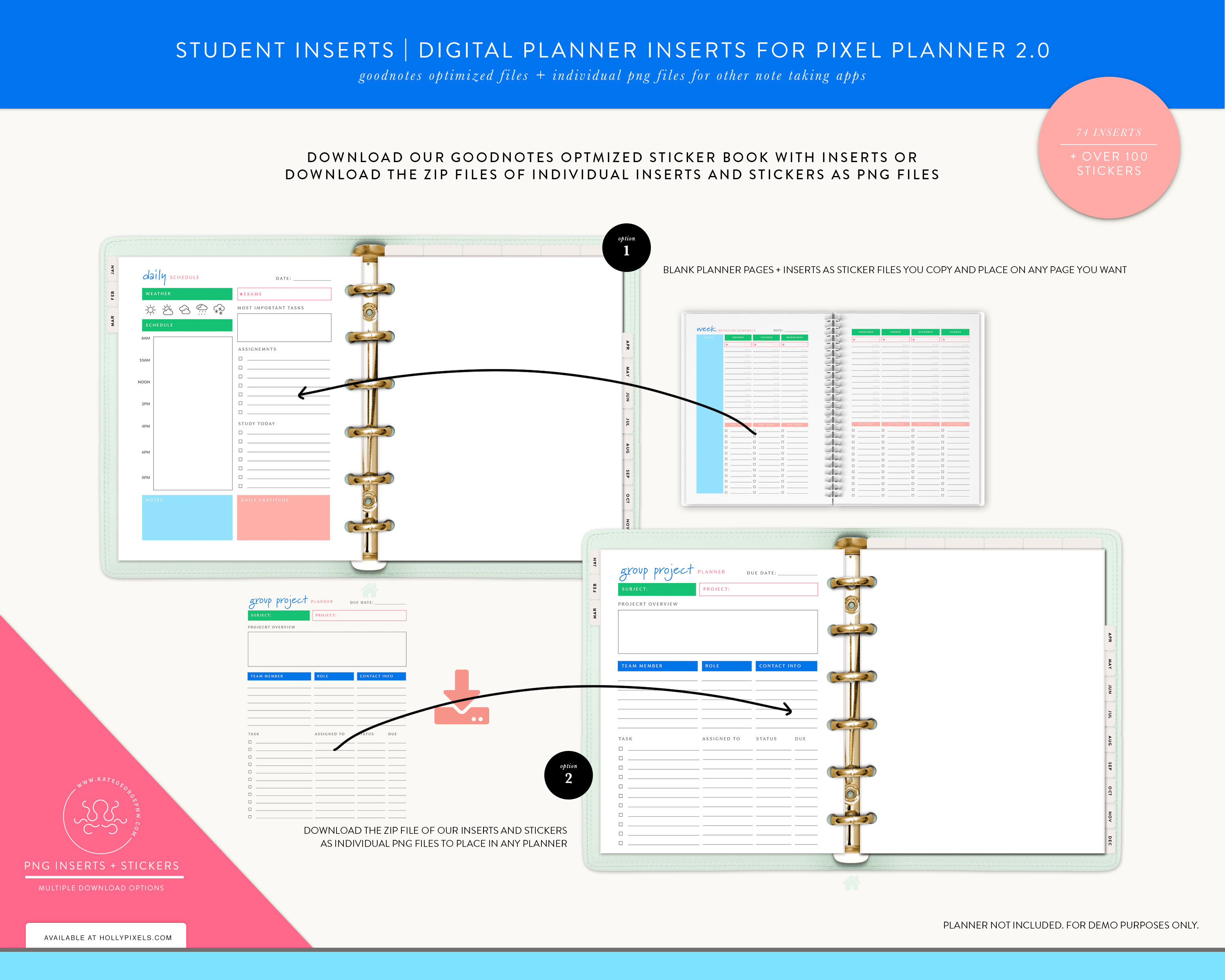 New Student Digital Planner Inserts and Stickers for GoodNotes 3