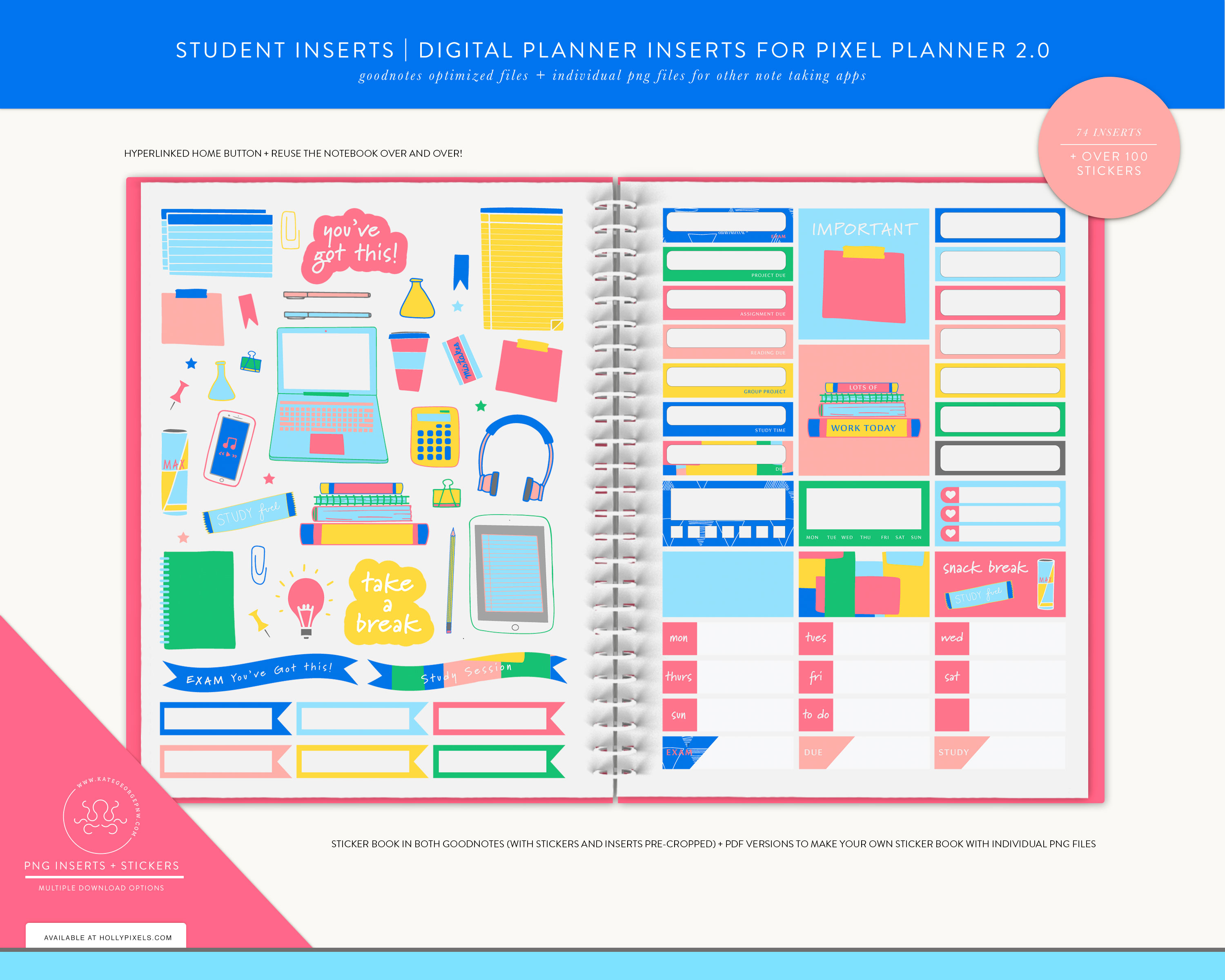 New Student Digital Planner Inserts and Stickers for GoodNotes 4