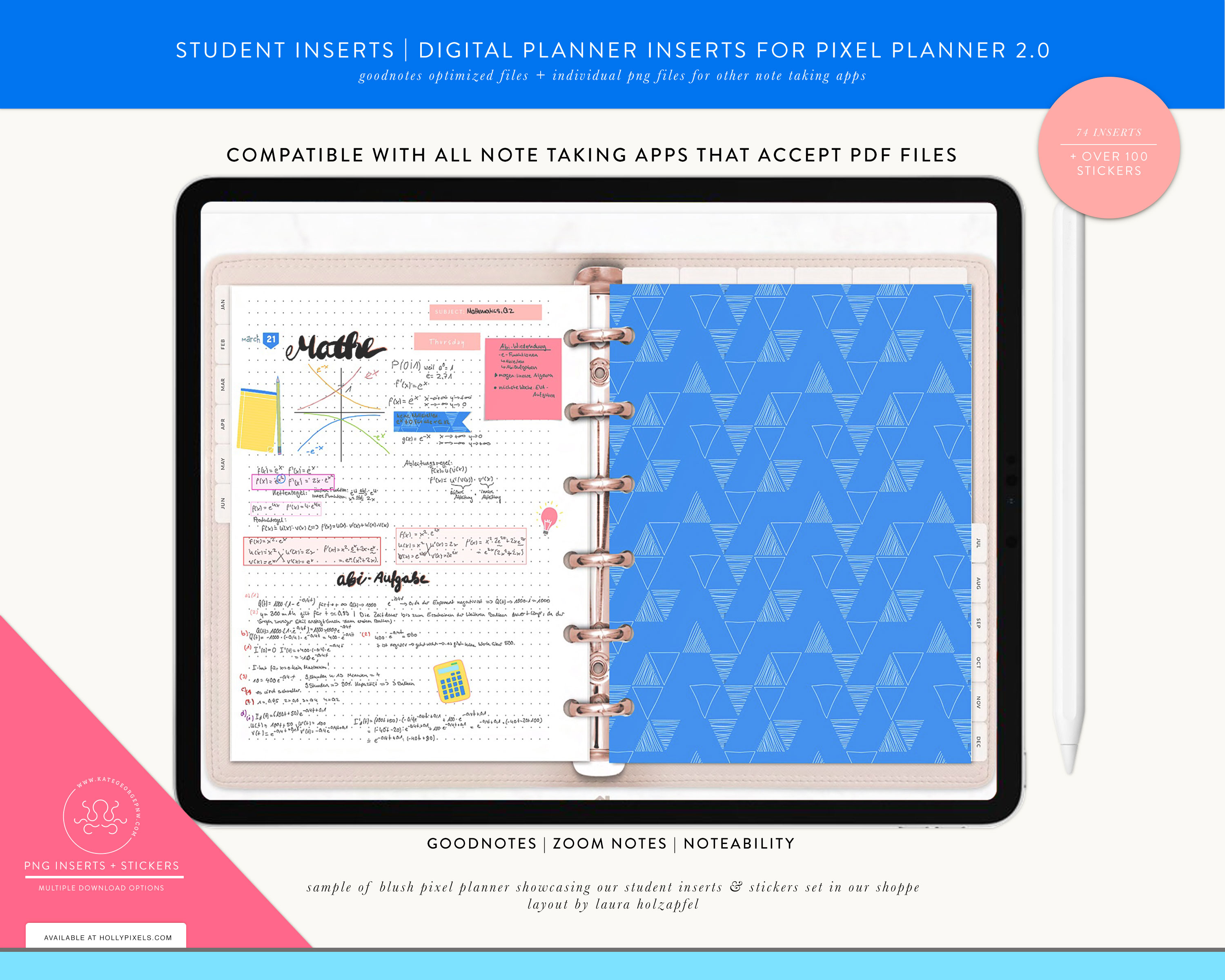 New Student Digital Planner Inserts and Stickers for GoodNotes 5