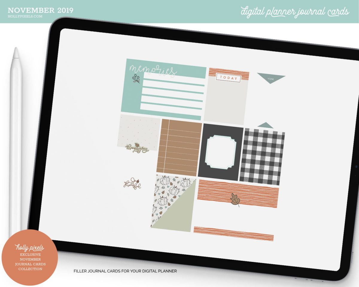 Get more creativity out of your digital planners with our November 2019 pocket journal cards for memory keeping. These cards are designed to work with our FREE Pocket Scrapbook found in the Digital Planning Library. Just like stickers but for keeping memories alive.