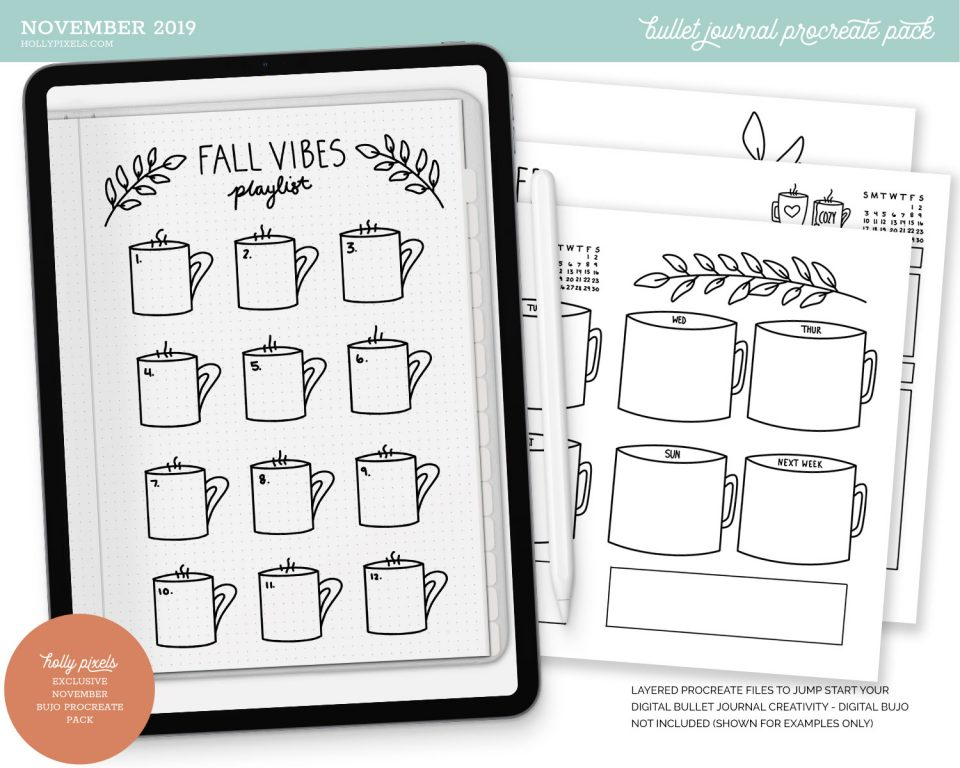 Easy peasy bullet journaling on your iPad. Use our Procreate bujo starter packs to use in our new digital bullet journal for goodnotes and other apps.